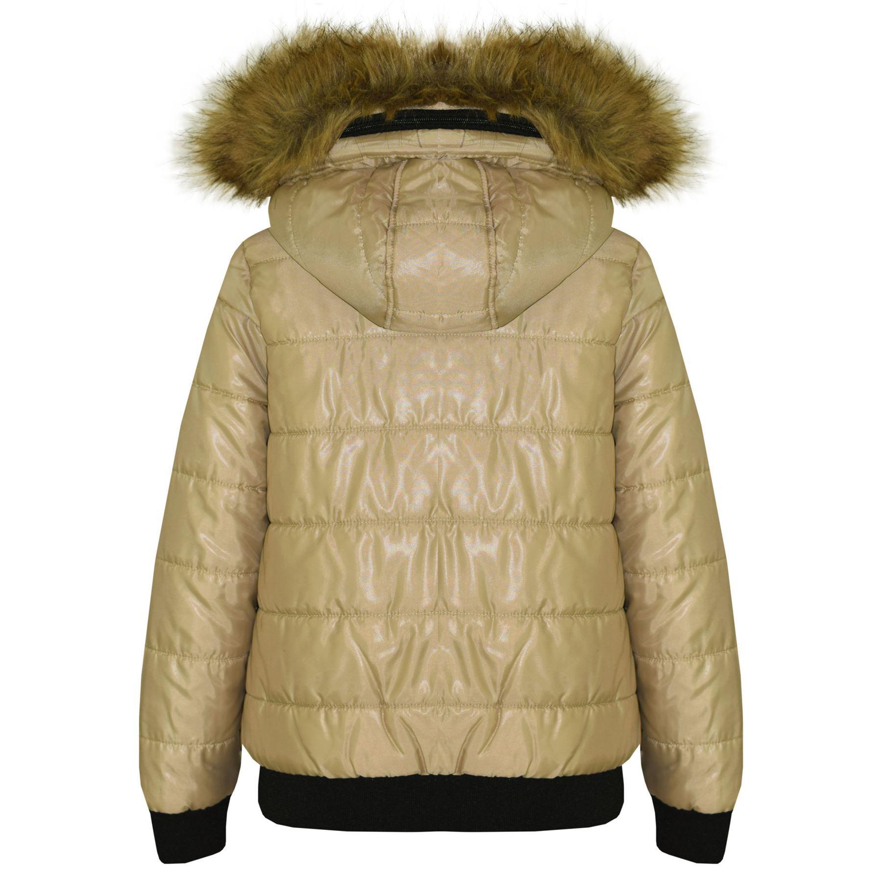 35fe6905bfb1 Boys Girls Jackets Kids Maya Faux Fur Hooded Padded Puffer Bubble ...