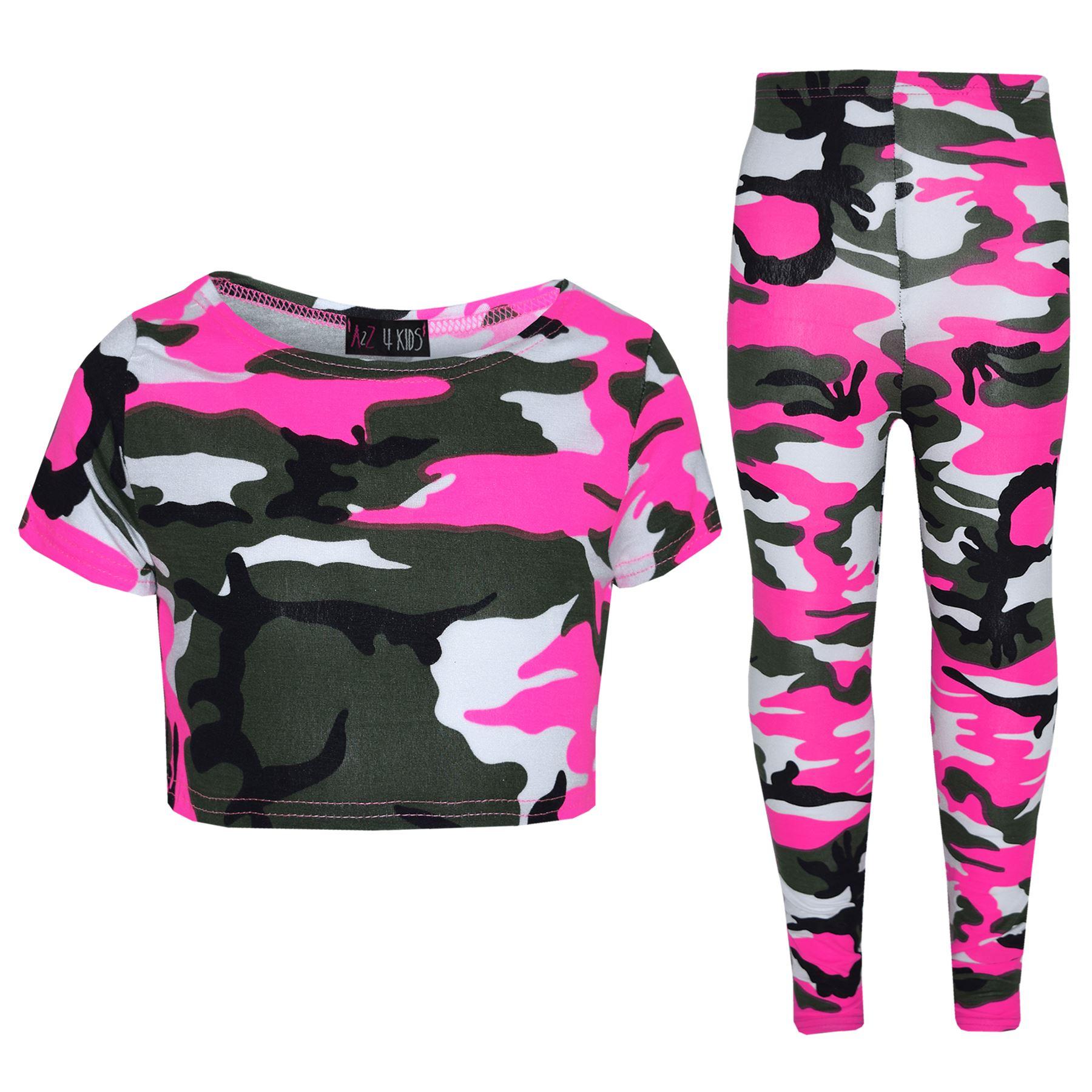 A2Z 4 Kids Girls Tops Kids Designers Camouflage Print Trendy Crop Top Legging Set 7-13 Yr