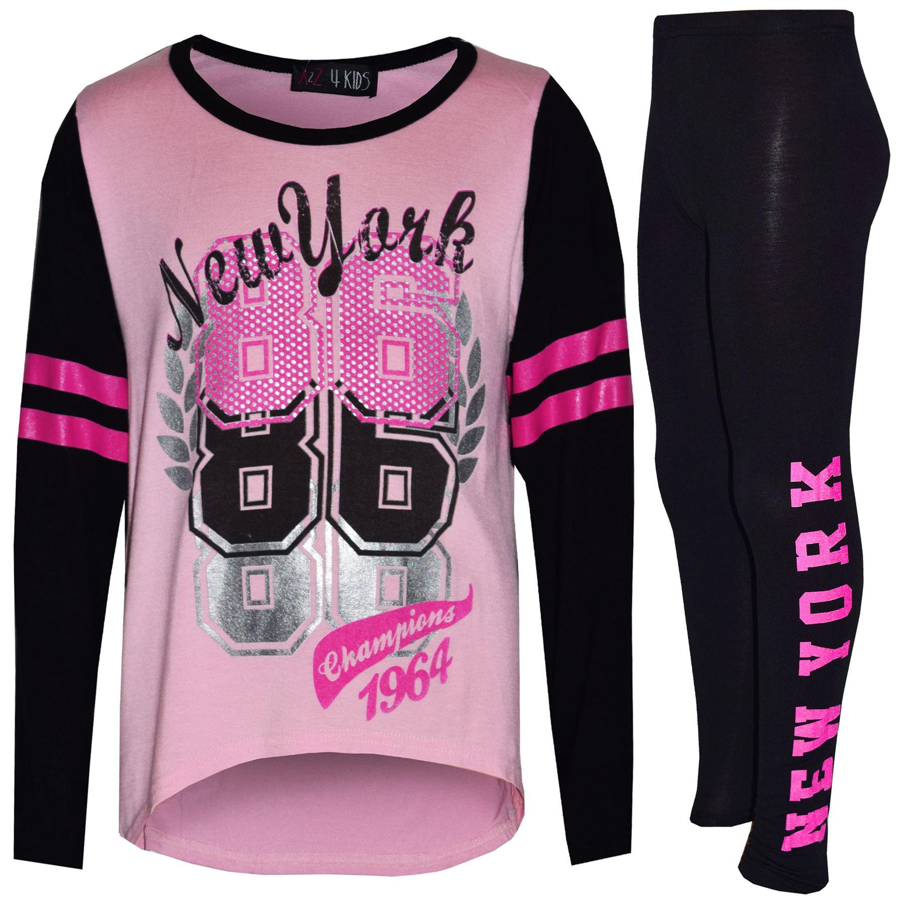 Girls Top Kids New York 86 Print Fashion Tops /& Stylish Legging Set 7-13 Years