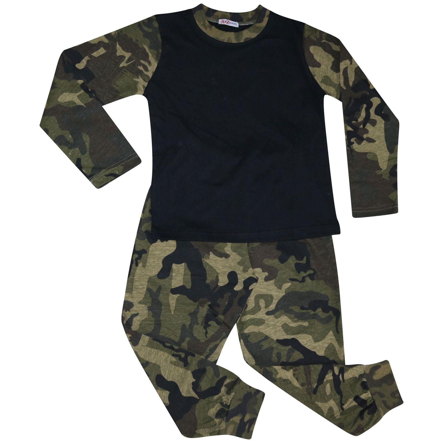 Enfants Filles Garçons Pyjamas Contraste Camouflage Vert Uni Élégant Ensemble