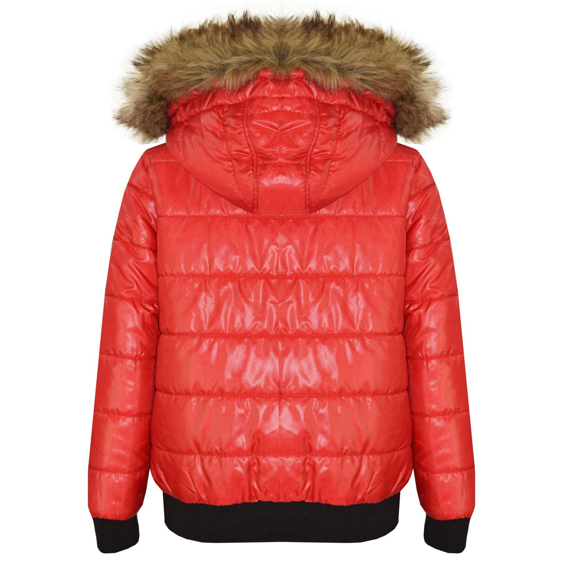 94dff86b0 Details about Boys Girls Jackets Kids Red Maya Faux Fur Hooded Padded  Puffer Bubble Coats 5-13