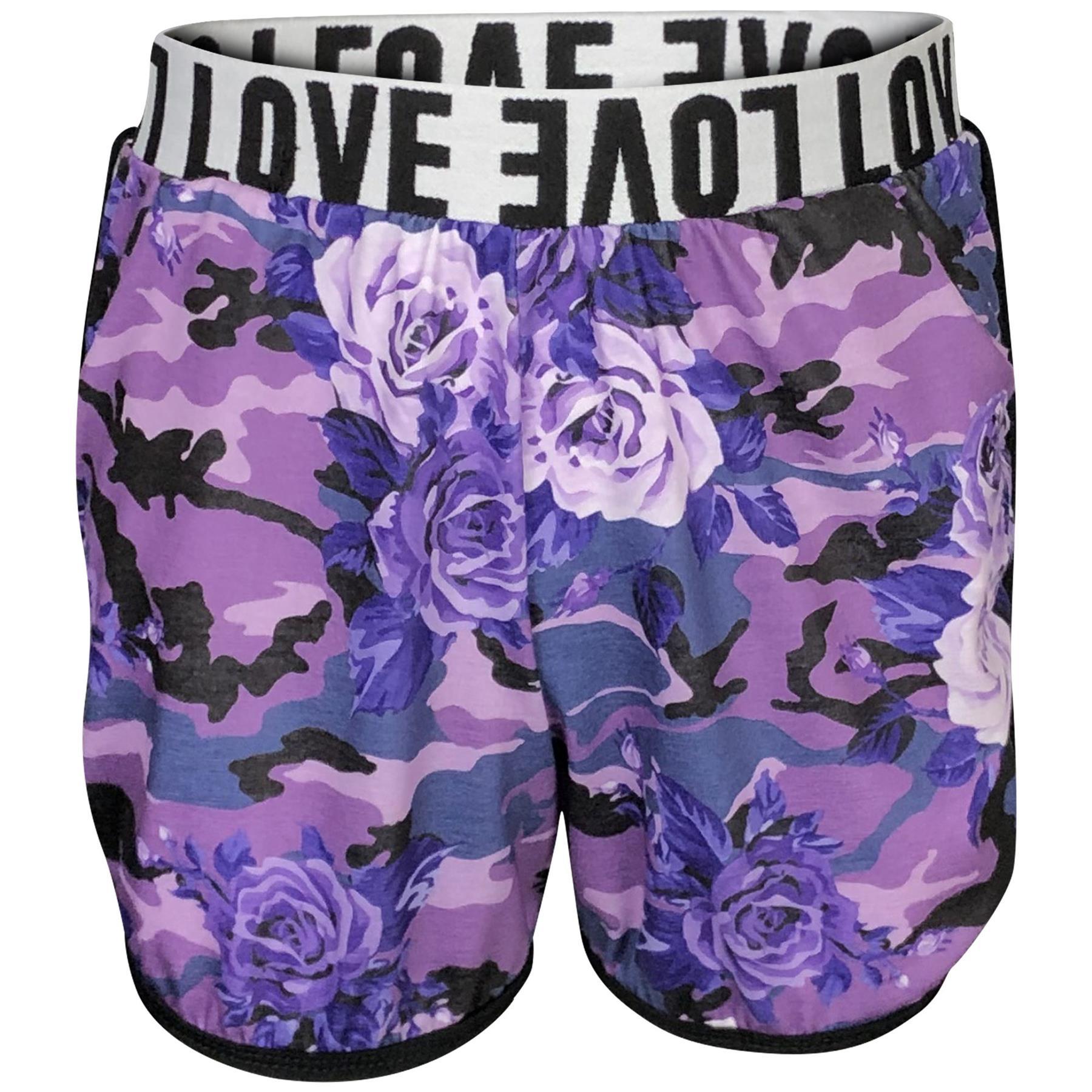 Kids Girls Crop /& Short Camouflage Baby Pink Floral Print Summer Outfit Set 7-13