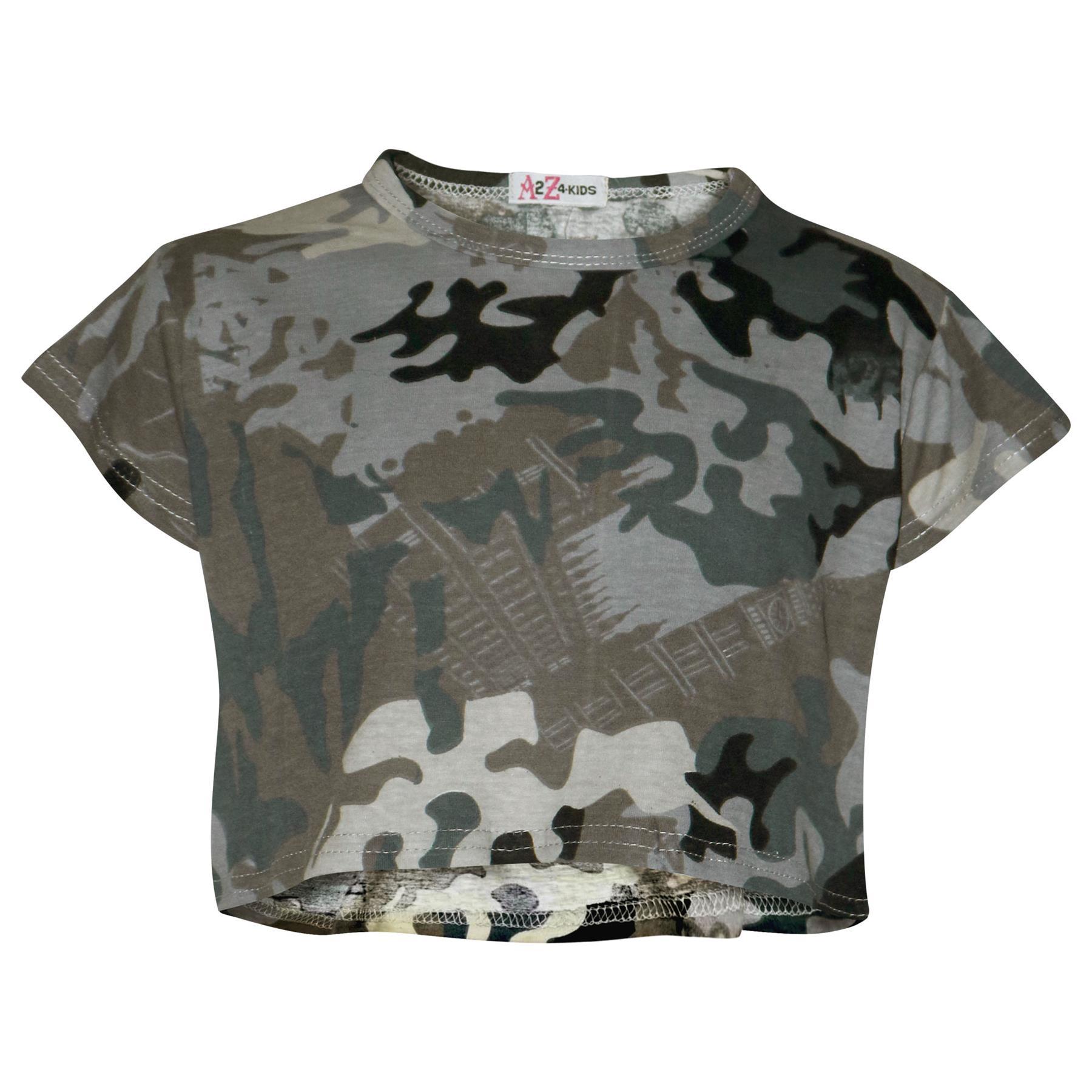 Kids Girls Crop Top & Skater Skirt Camouflage Fashion ...