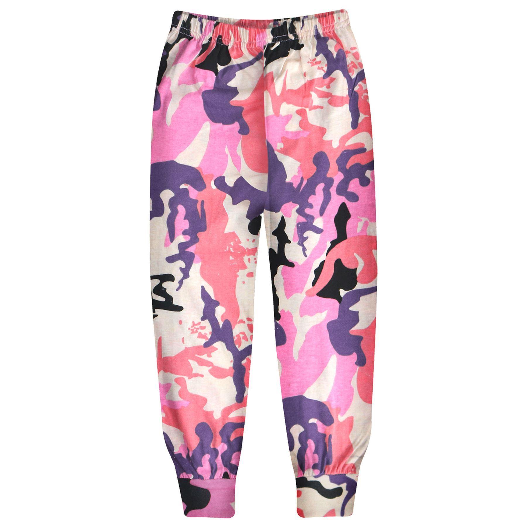 Kids Girls Camouflage Baby Pink Pjs Contrast Plain Stylish Pyjamas Set 2-13 Year