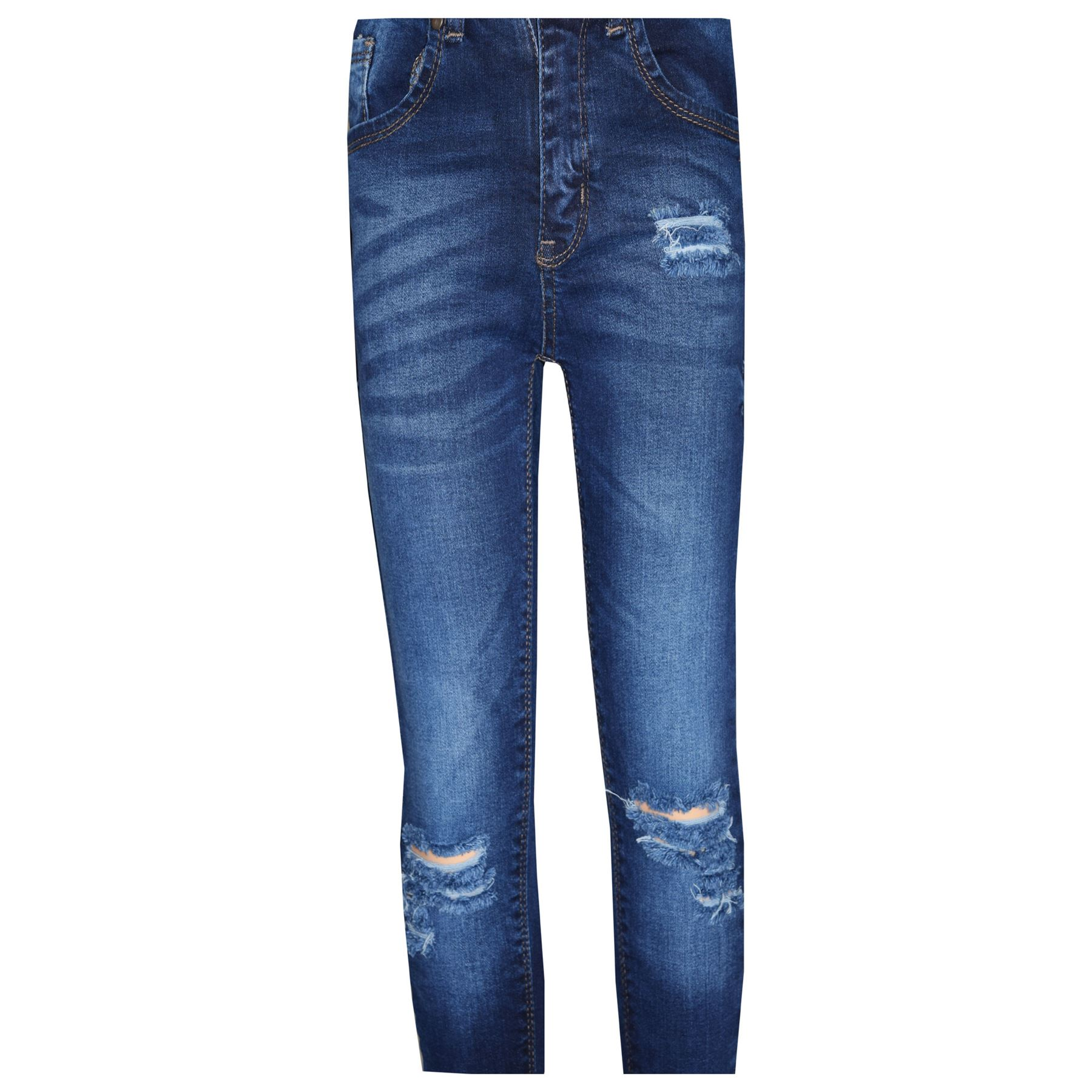b980126a921 Girls Stretchy Jeans Kids Blue Denim Ripped Pants Frayed Trousers ...