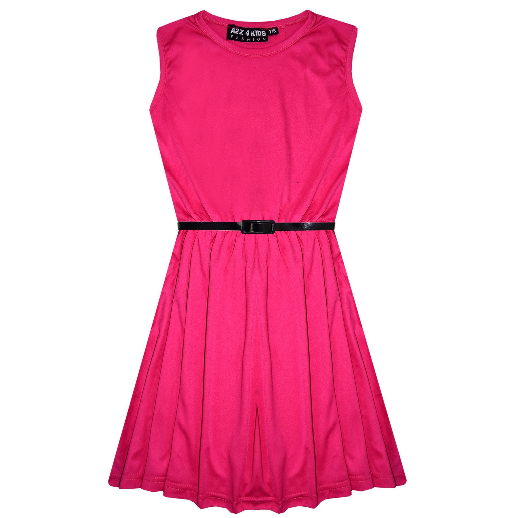 Girls-Skater-Dress-Kids-Party-Dresses-With-Free-Belt-5-6-7-8-9-10-11-12-13-Years miniatuur 20