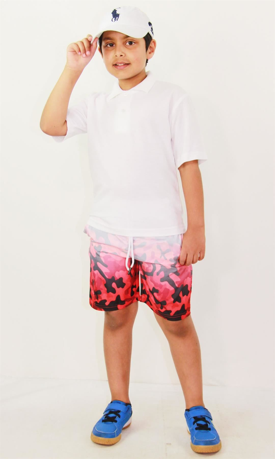 Kids Boys Shorts Two Tone Red Summer Chino Short Knee Length Half Pants 3-13 Yrs