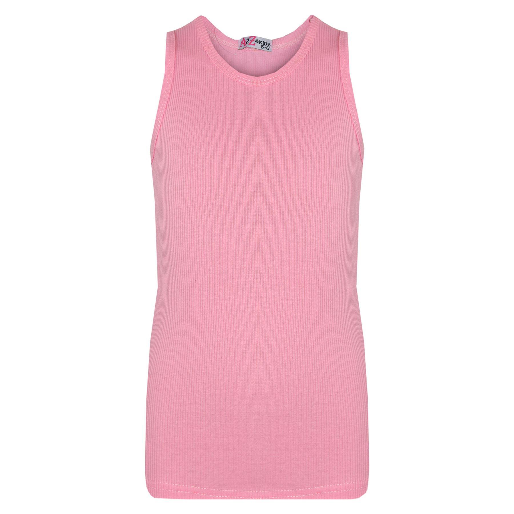 Filles Côtelé Débardeur 100/% coton Summer T Shirt Âge 5 6 7 8 9 10 11 12 13 ans