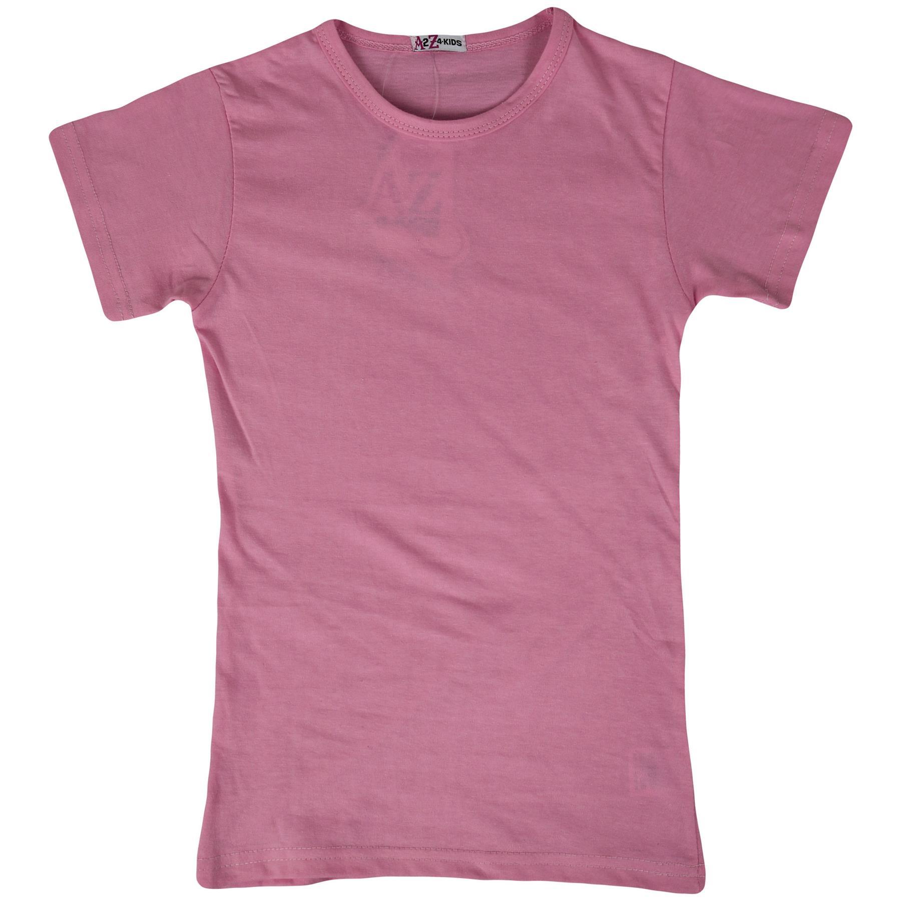 Kids-Girls-T-Shirts-Designer-100-Cotton-Plain-School-T-Shirt-Top-New-Age-3-13Yr thumbnail 5