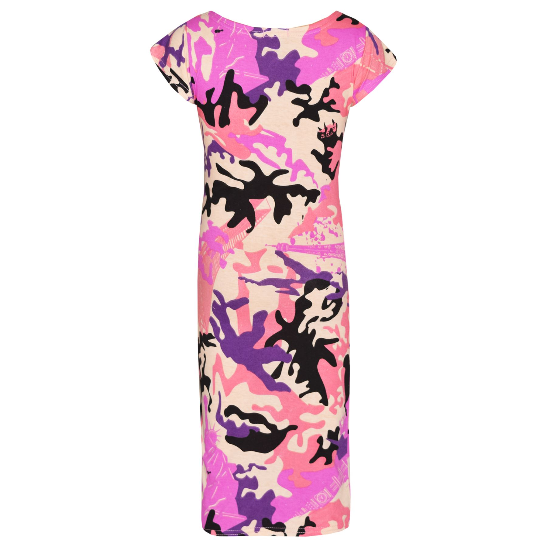 Girls-Dress-Kids-Camouflage-Print-Summer-Party-Bodycon-Midi-Dresses-5-13-Years thumbnail 3
