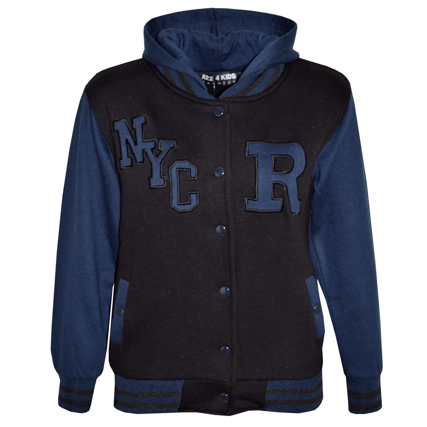 Kids-Girls-Boys-R-Fashion-NYC-Baseball-Hooded-Jacket-Varsity-Hoodie-5-13-Years