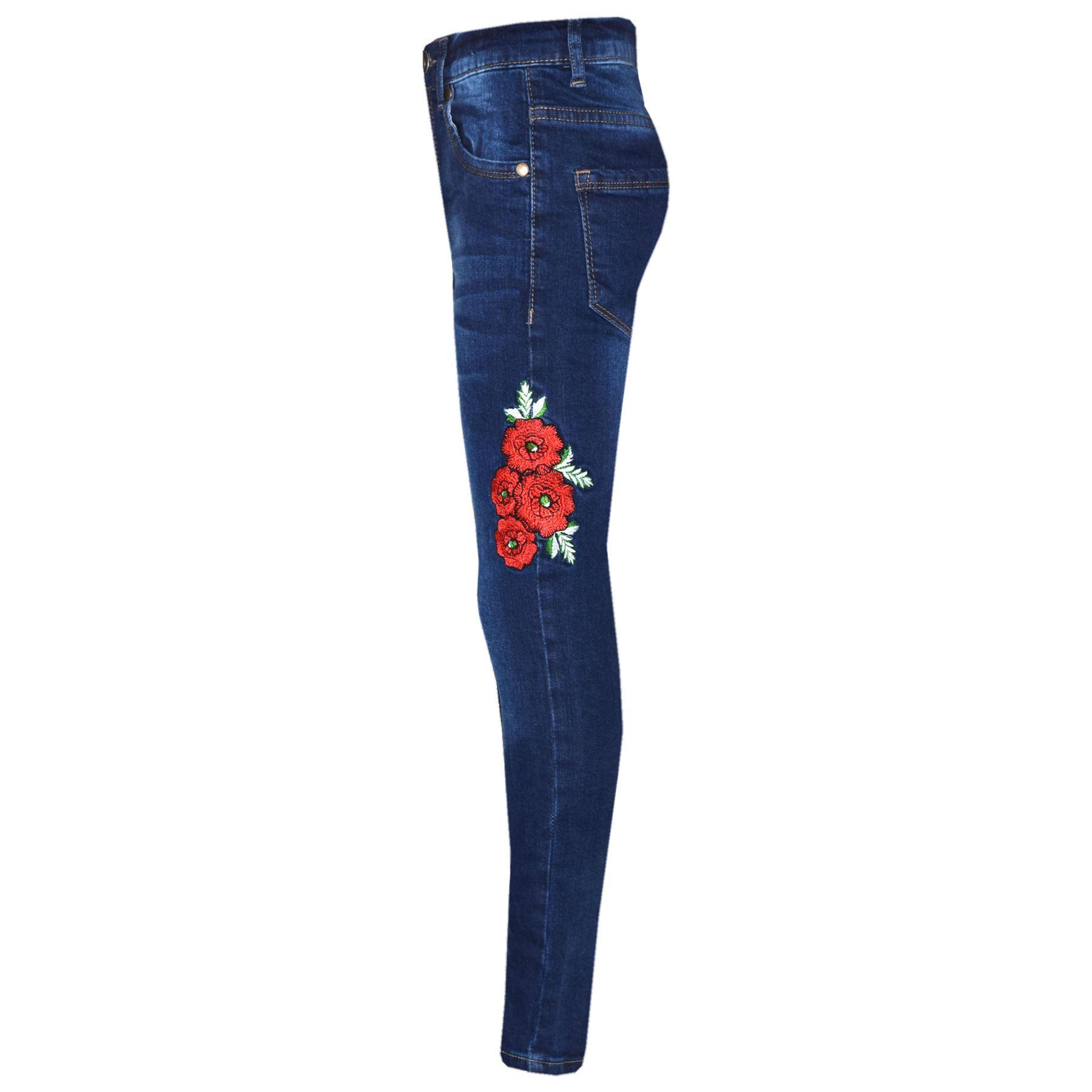 Niña Vaqueros Elásticos Niños Rosas Estampado Pantalones Jeggings 5-13 Años