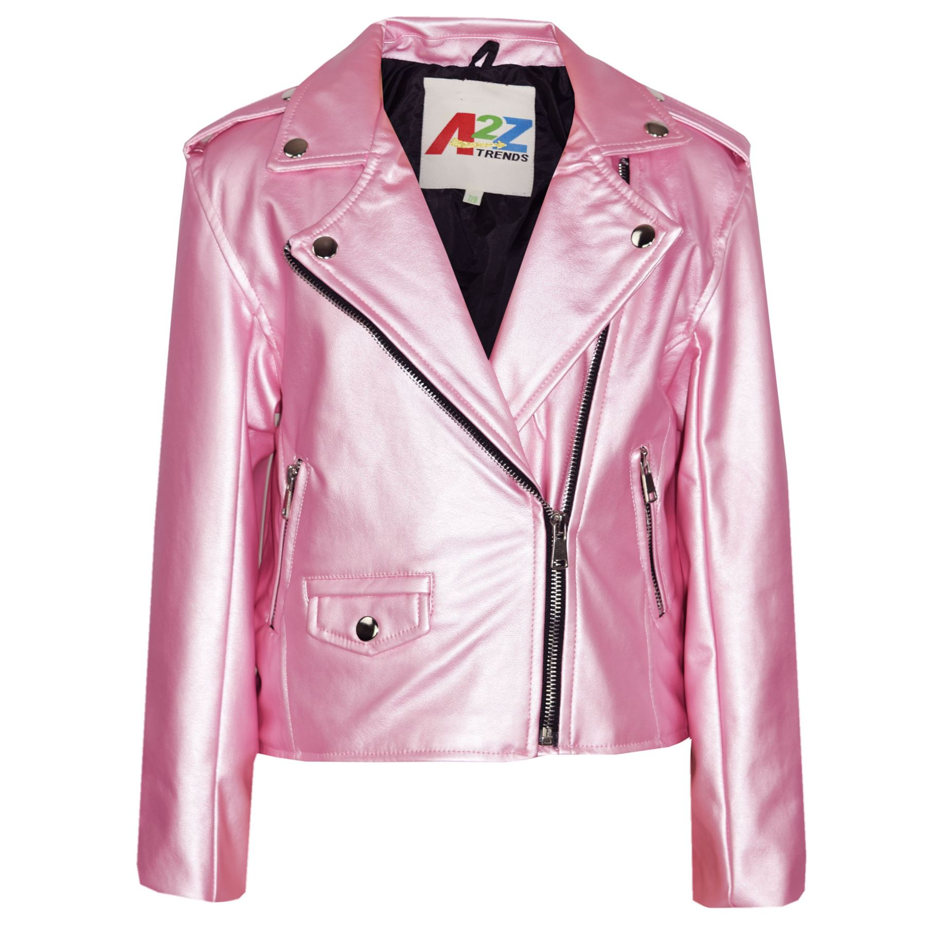 Kids Jacket Girls Designer's PU Leather Jackets Zip Up ...