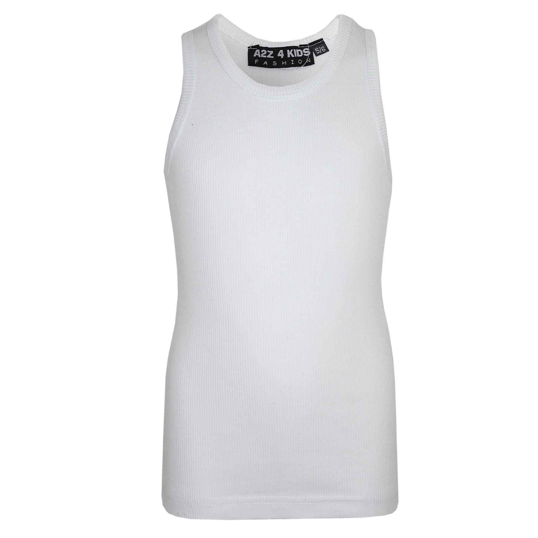 A2Z 4 Kids/® Kids Girls Ribbed Stylish Vest Top 100/% Cotton Fashion T Shirt New Age 5 6 7 8 9 10 11 12 13 Year