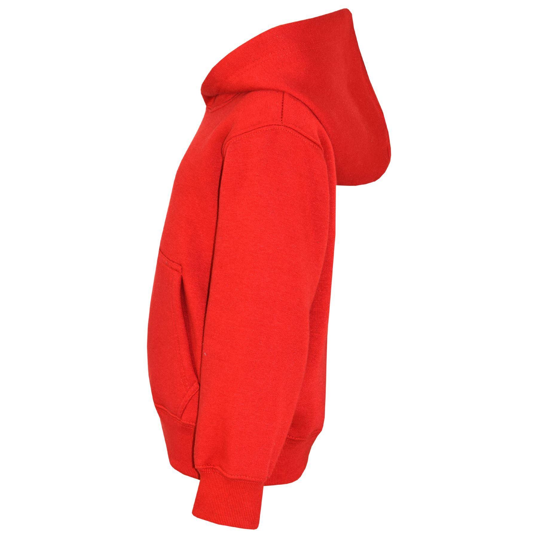 13ce2f043ee6 Kids Girls Boys Sweatshirt Tops Plain Red Hooded Jumpers Hoodies Age ...