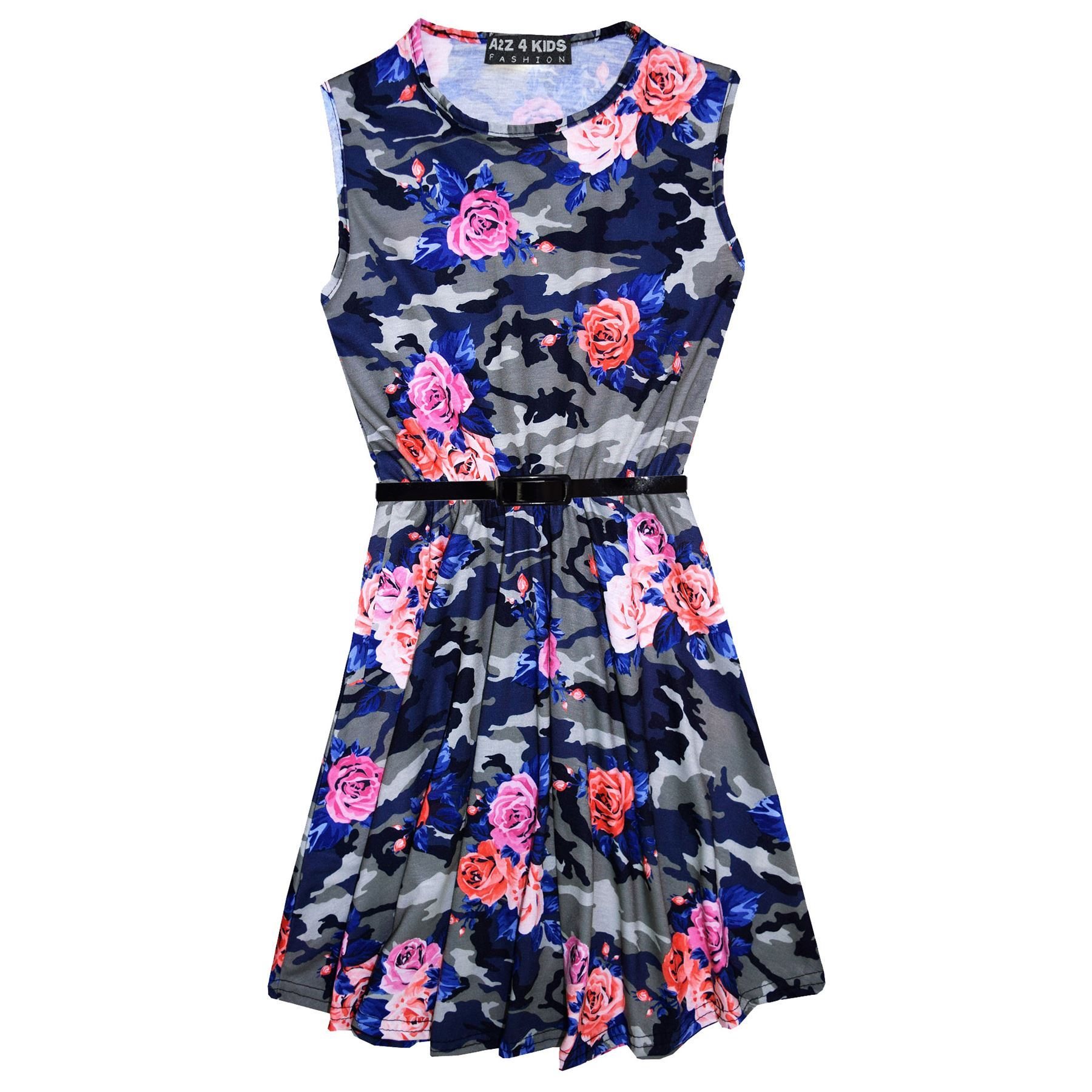 Girls-Skater-Dress-Kids-Camo-Floral-Print-Summer-Party-Dresses-Age-7-13-Years thumbnail 7