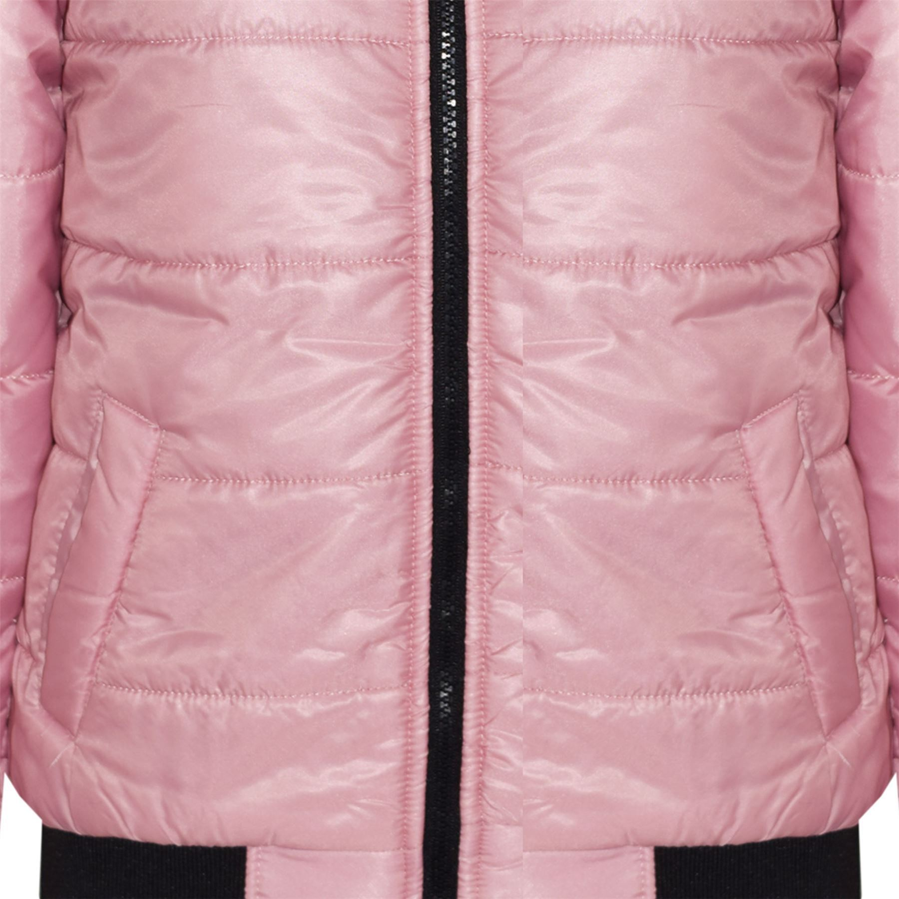 Boys Girls Jacket Kids Baby Pink Maya Faux Fur Hooded Padded Puffer Coat 5-13 Yr
