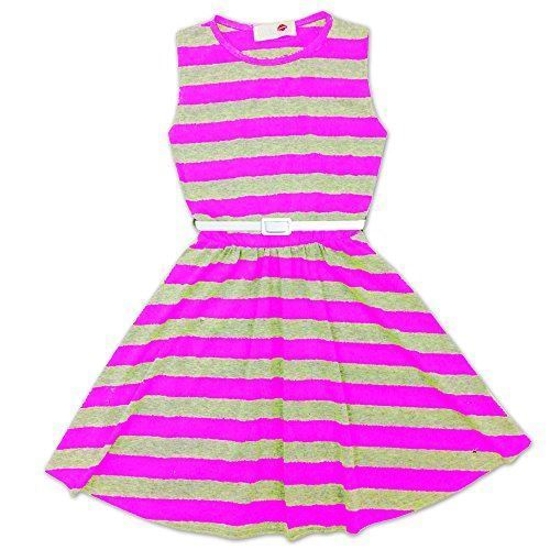 b3e6470e79c1 Girls Skater Dress Kids Party Dresses With Belt Age 7 8 9 10 11 12 ...