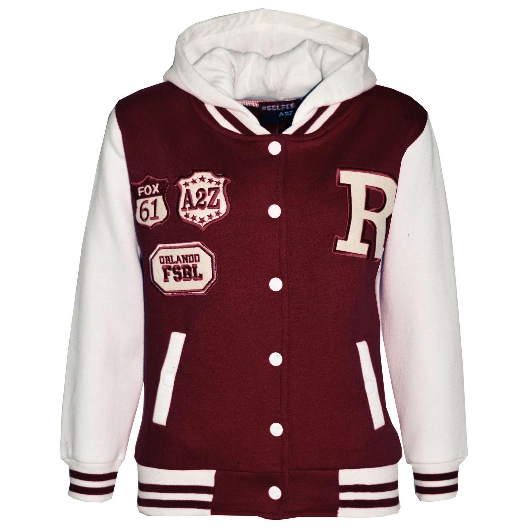 Kids Girls Boys Designer/'s R Fashion Baseball Wine Hooded Jackets Varsity Hoodie