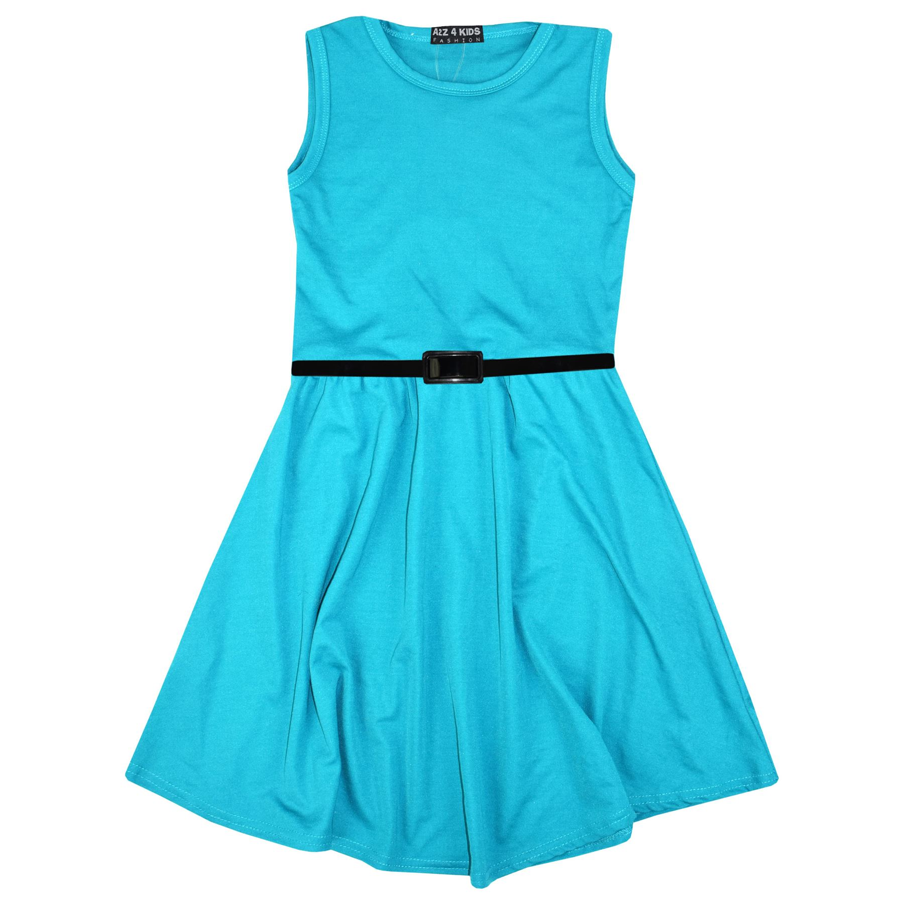 Girls-Skater-Dress-Kids-Party-Dresses-With-Free-Belt-5-6-7-8-9-10-11-12-13-Years miniatuur 81
