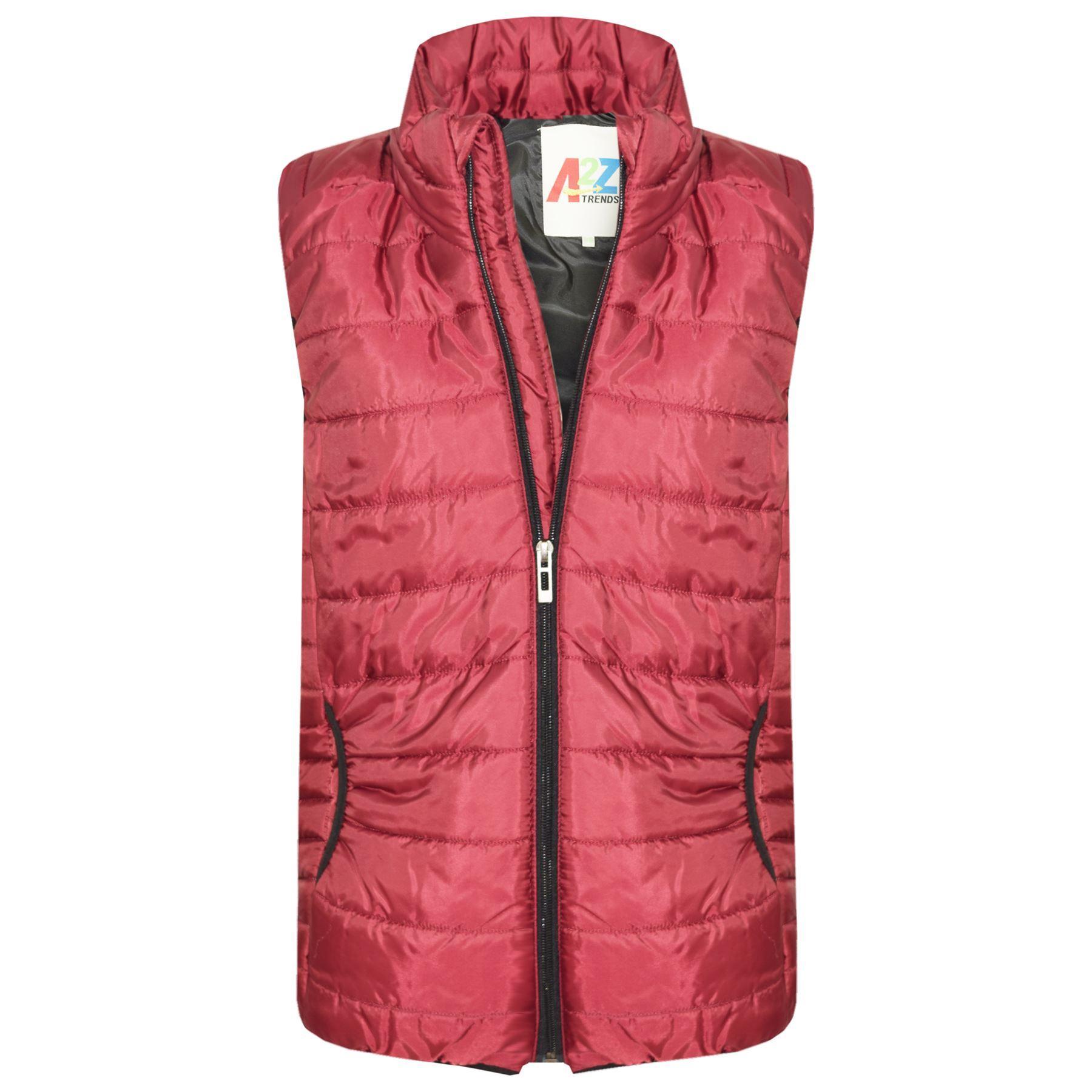 Kids Girls Boys Wine Sleeveless High Neck Padded Gilet Bodywarmer Jackets 5-13Yr