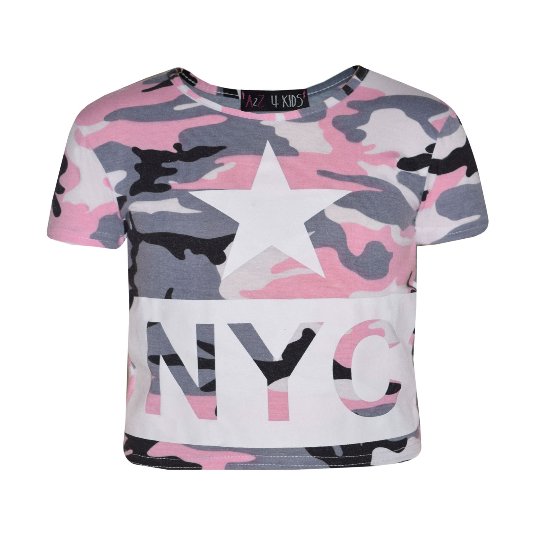Kids Girls NYC Camouflage Trendy Crop Top & Fashion ...