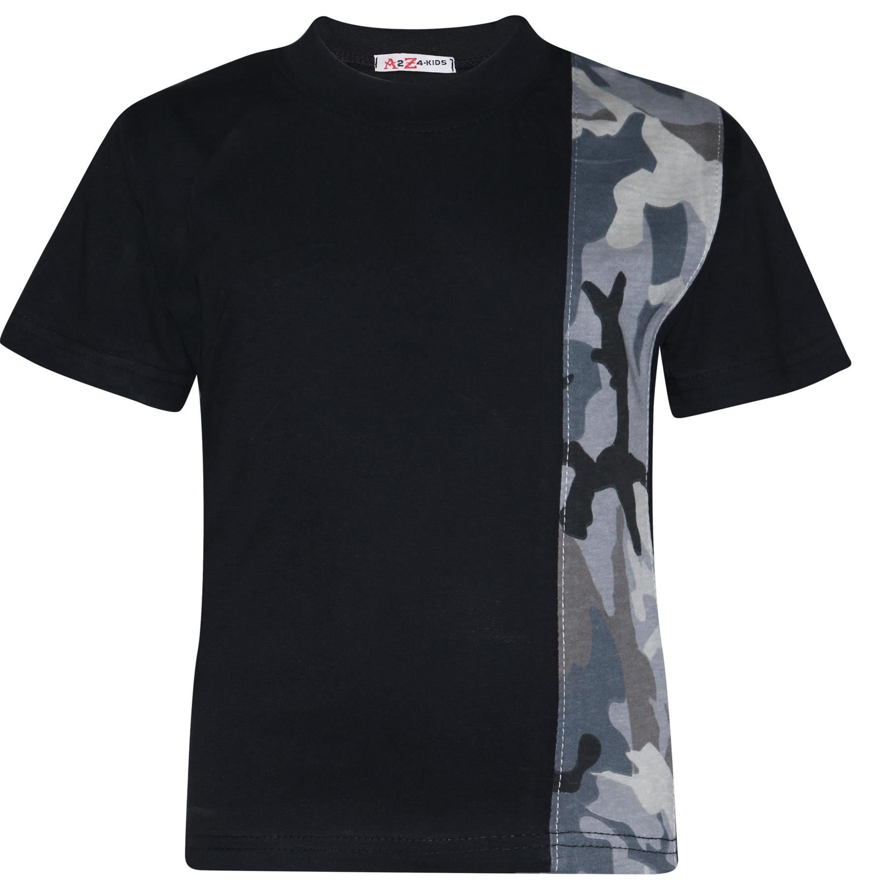 Kids Boys T Shirt Shorts Camouflage Charcoal Contrast Panel Top Summer Short Set
