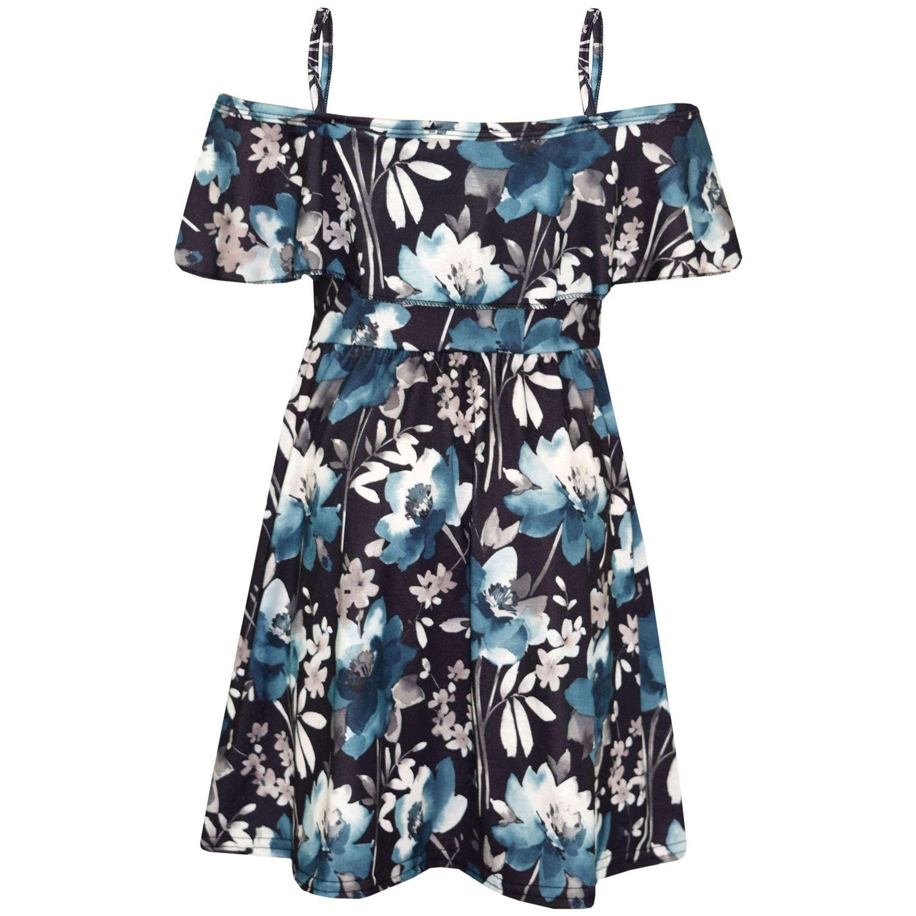 Kids-Girls-Skater-Dress-Floral-Print-Summer-Party-Fashion-Off-Shoulder-Dresses thumbnail 4