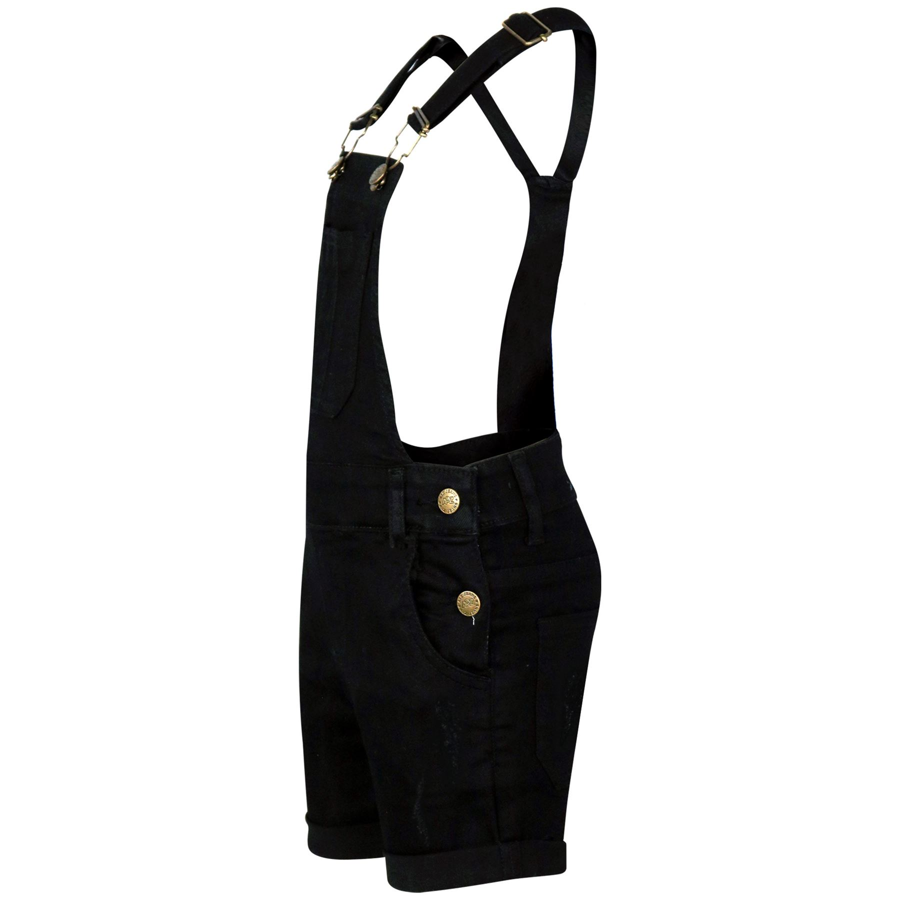 Enfants-Filles-Dungaree-Short-Black-denim-dechire-jeans-stretch-Overall-Jumpsuit-5-13
