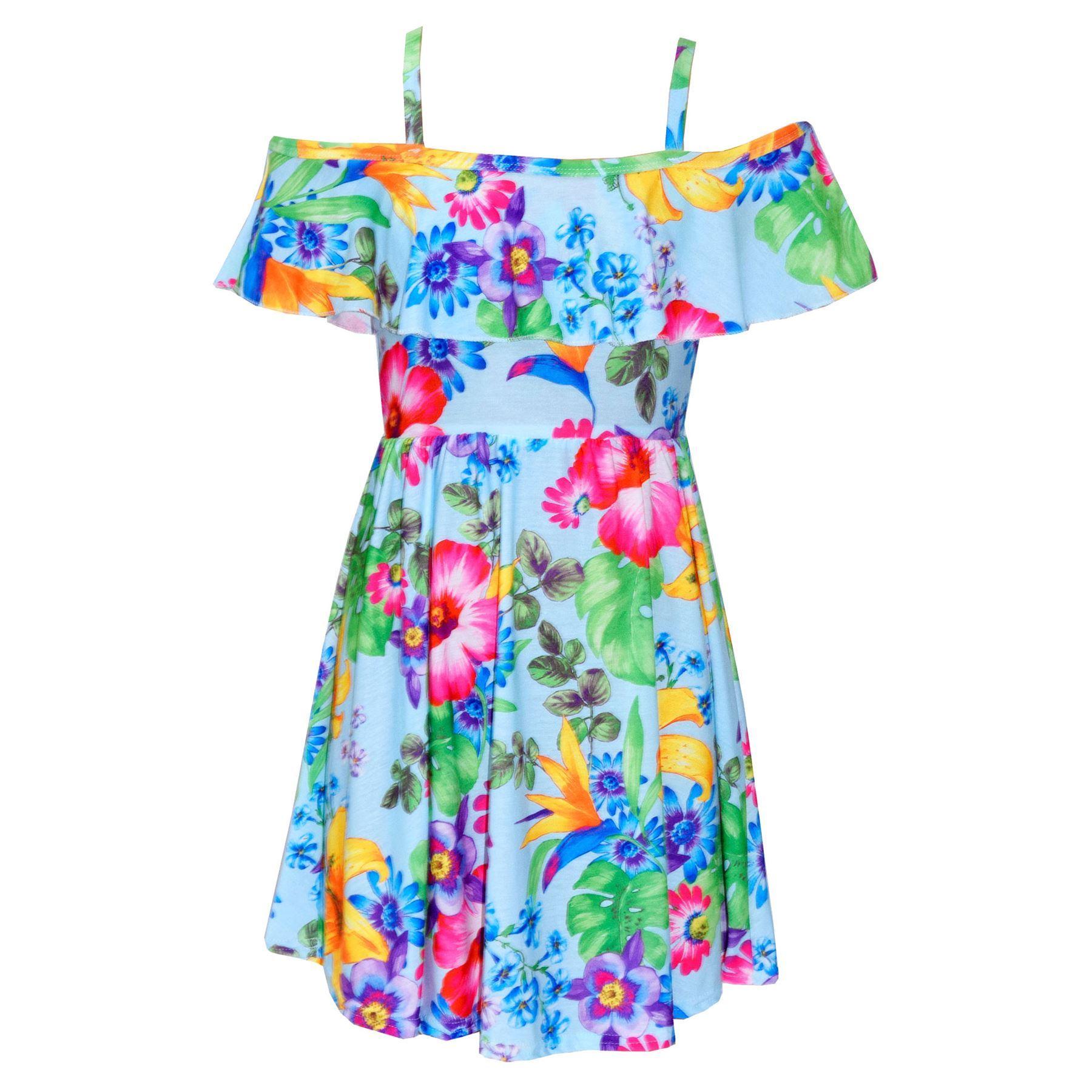 Kids Girls Skater Dress Floral Print Summer Party Fashion ...