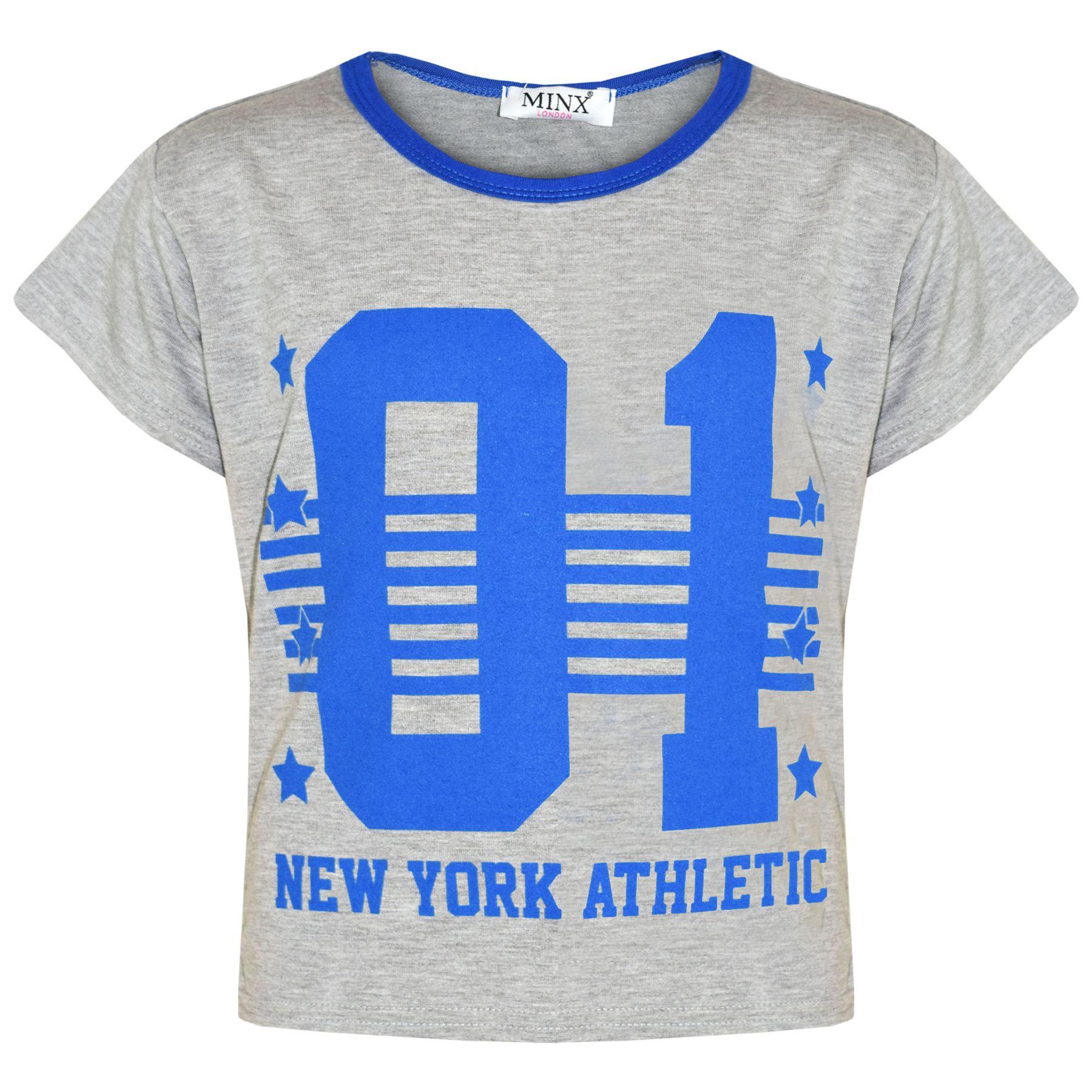 Girls Tops Kids 01 New York Athletic Print Stylish Crop Top Legging Set 7-13 Yrs