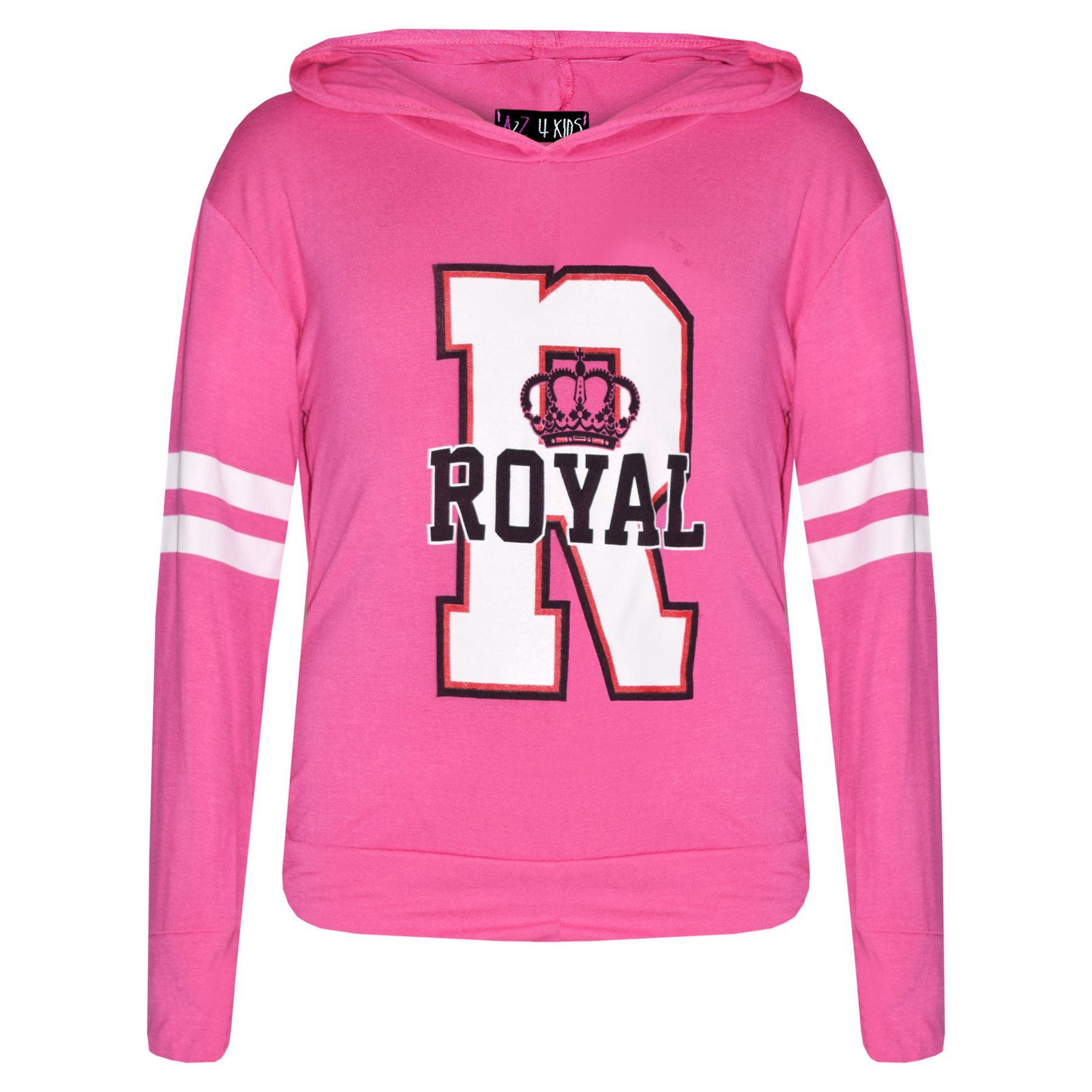 filles HAUT enfants royal imprimé à capuche t-shirt haut /& leggings