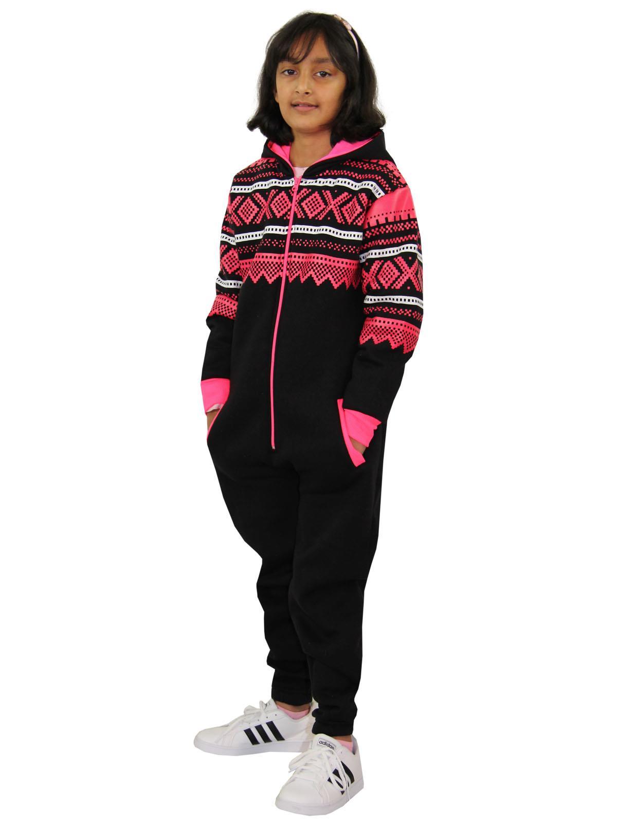Kids Girls Boys Aztec Snowflake A2Z Onesie One Piece Jumpsuit Playsuit 7-13 Year