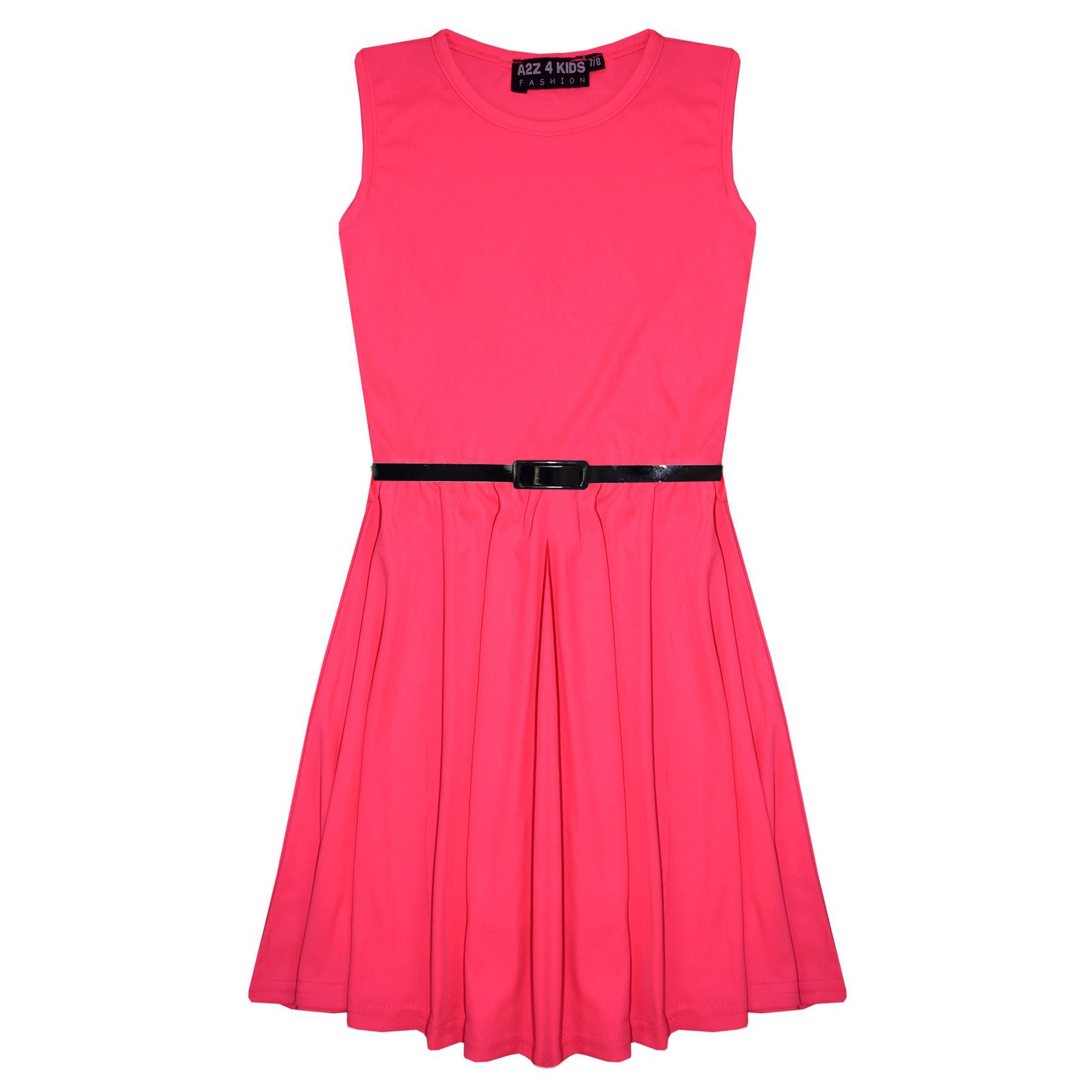 Girls-Skater-Dress-Kids-Party-Dresses-With-Free-Belt-5-6-7-8-9-10-11-12-13-Years thumbnail 56
