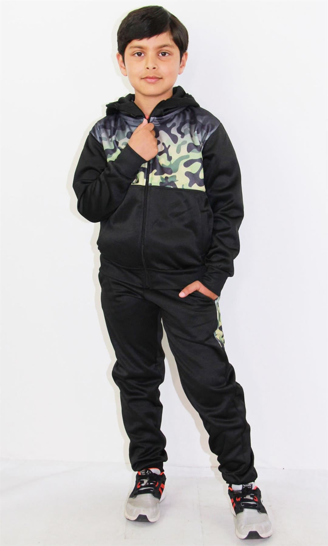 Kids Boys Girls Tracksuit Camouflage Panelled Teal Hooded Top Bottom Joggingsuit