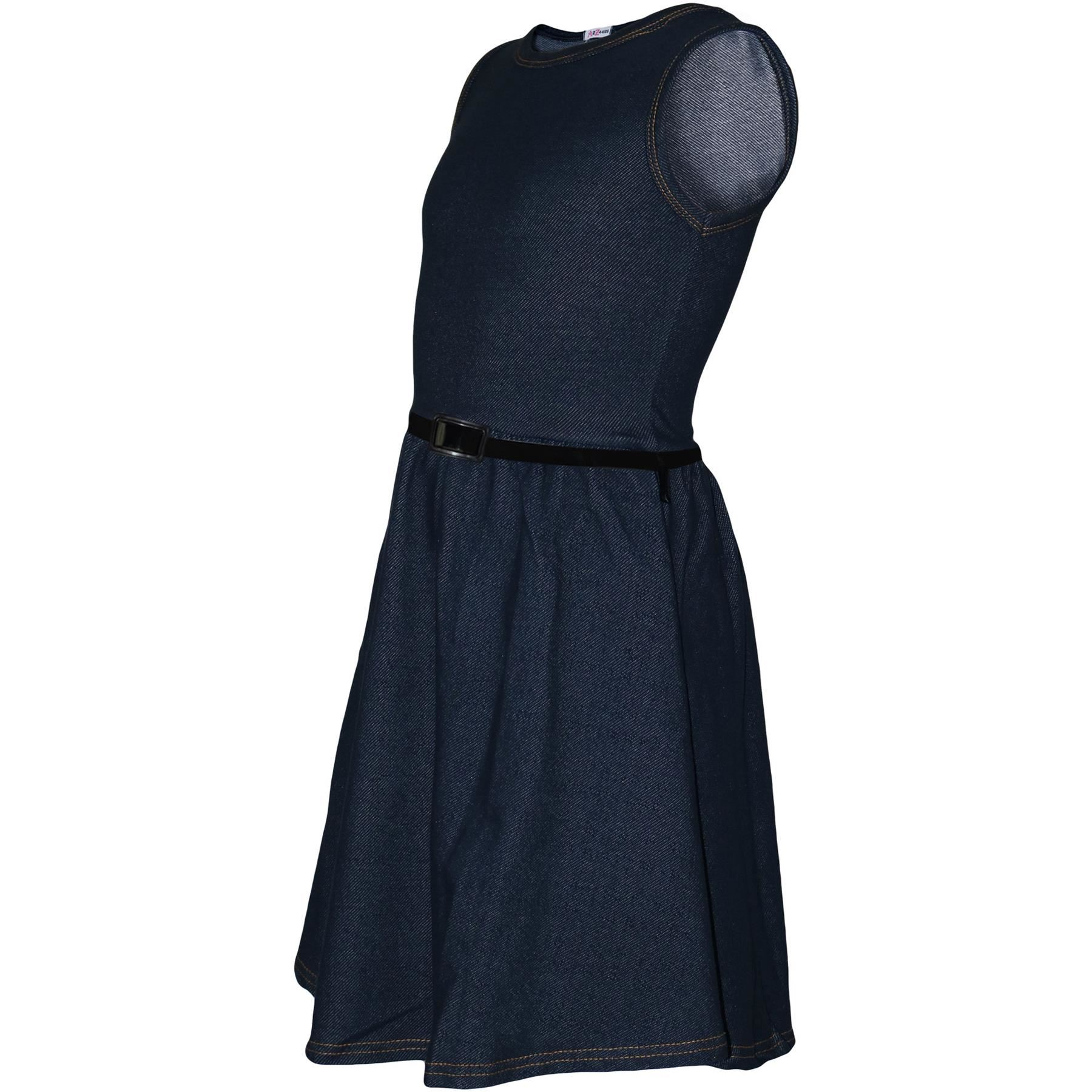 Girls-Skater-Dress-Kids-Party-Dresses-With-Free-Belt-5-6-7-8-9-10-11-12-13-Years thumbnail 27
