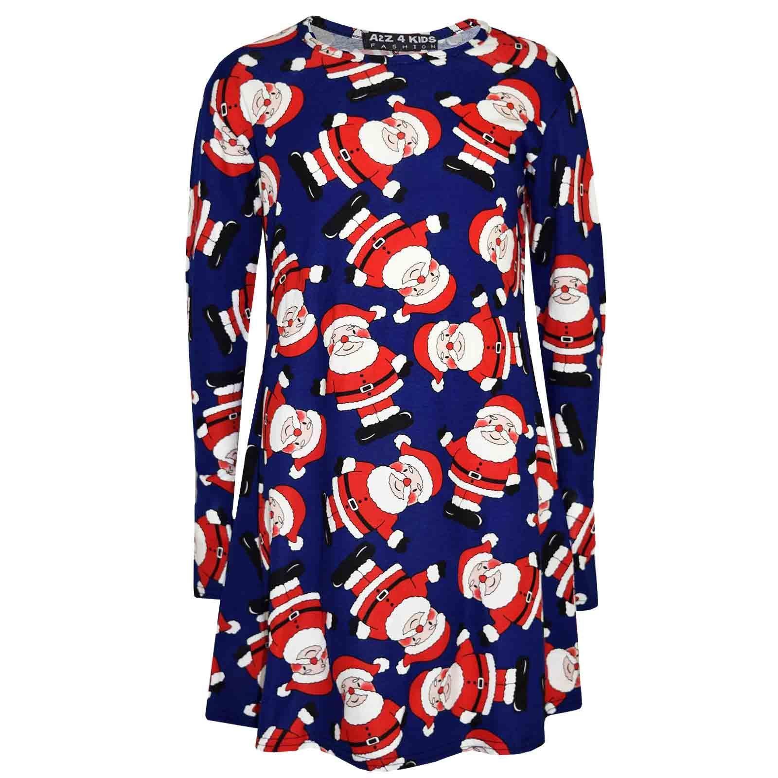 Kids Girls NATALE Santa Penguin Print Dress /& Xmas fashion Legging Set 7-13