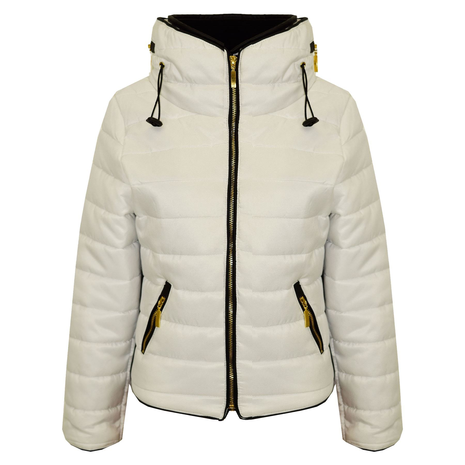 d8327bdc2 Girls Jacket Kids Padded White Puffer Bubble Faux Fur Collar Quilted ...