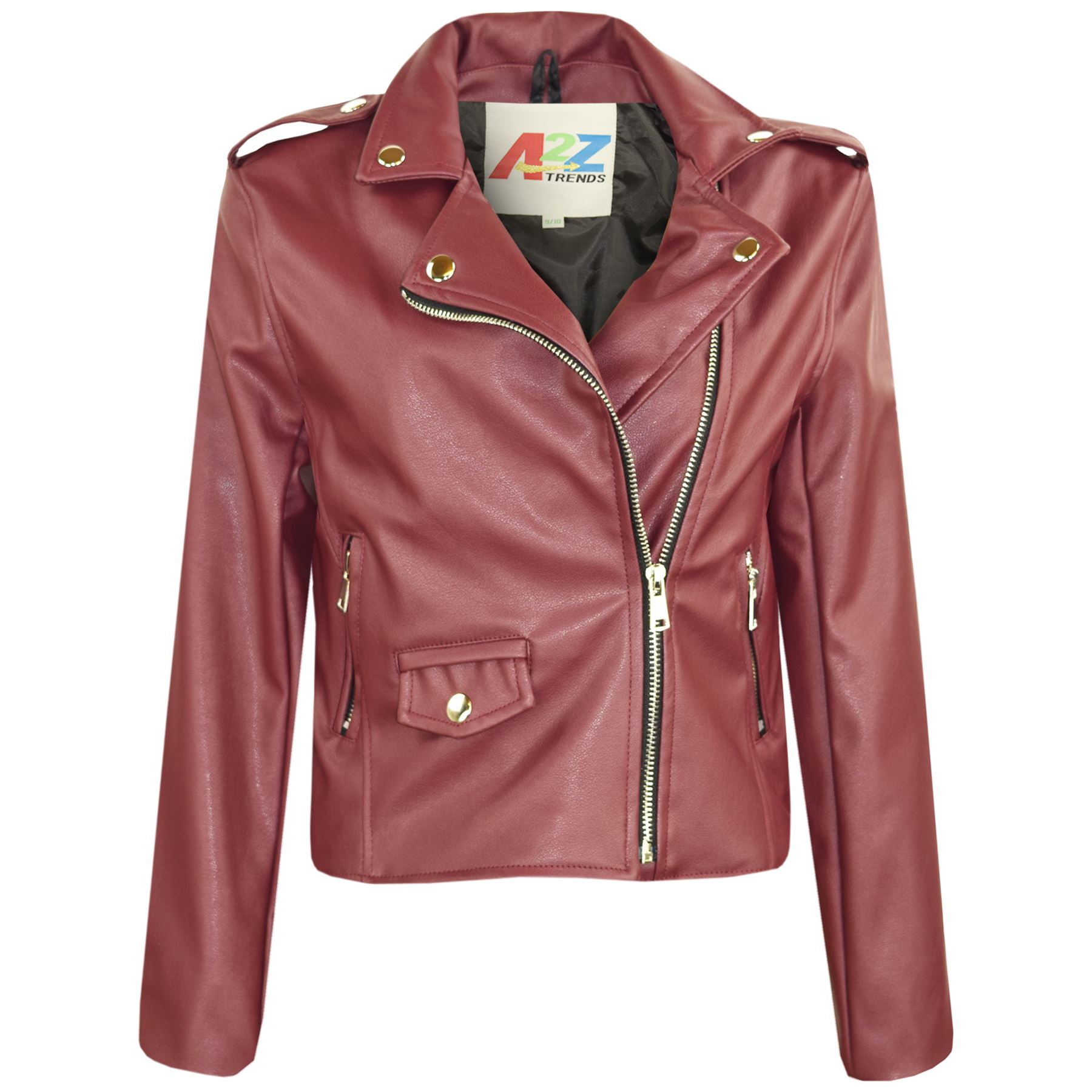 Kids-Enfiler-Girls-Designer-039-s-PU-Leather-Wine-Jacket-Zip-Up-Biker-Coats-5-13-ecole