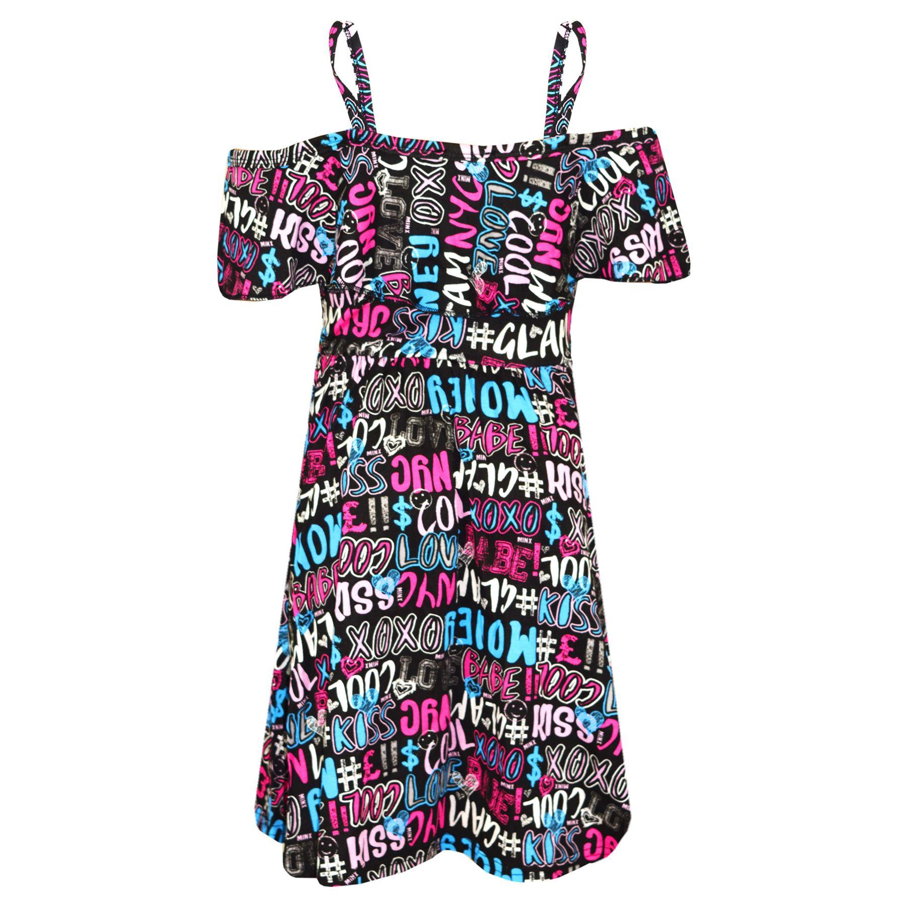 Kids-Girls-Skater-Dress-Floral-Print-Summer-Party-Fashion-Off-Shoulder-Dresses thumbnail 12