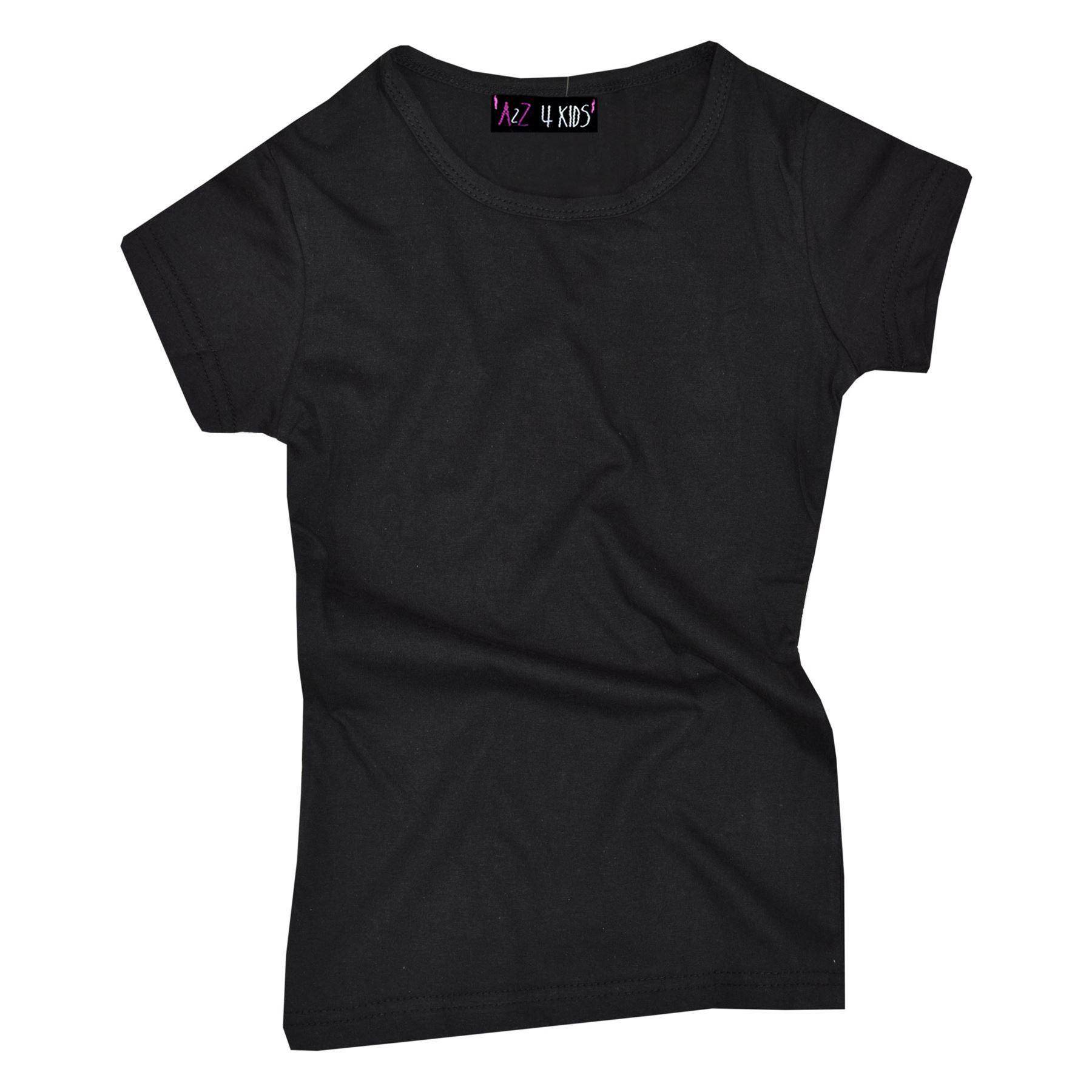 Kids-Girls-T-Shirts-Designer-100-Cotton-Plain-School-T-Shirt-Top-New-Age-3-13Yr thumbnail 8