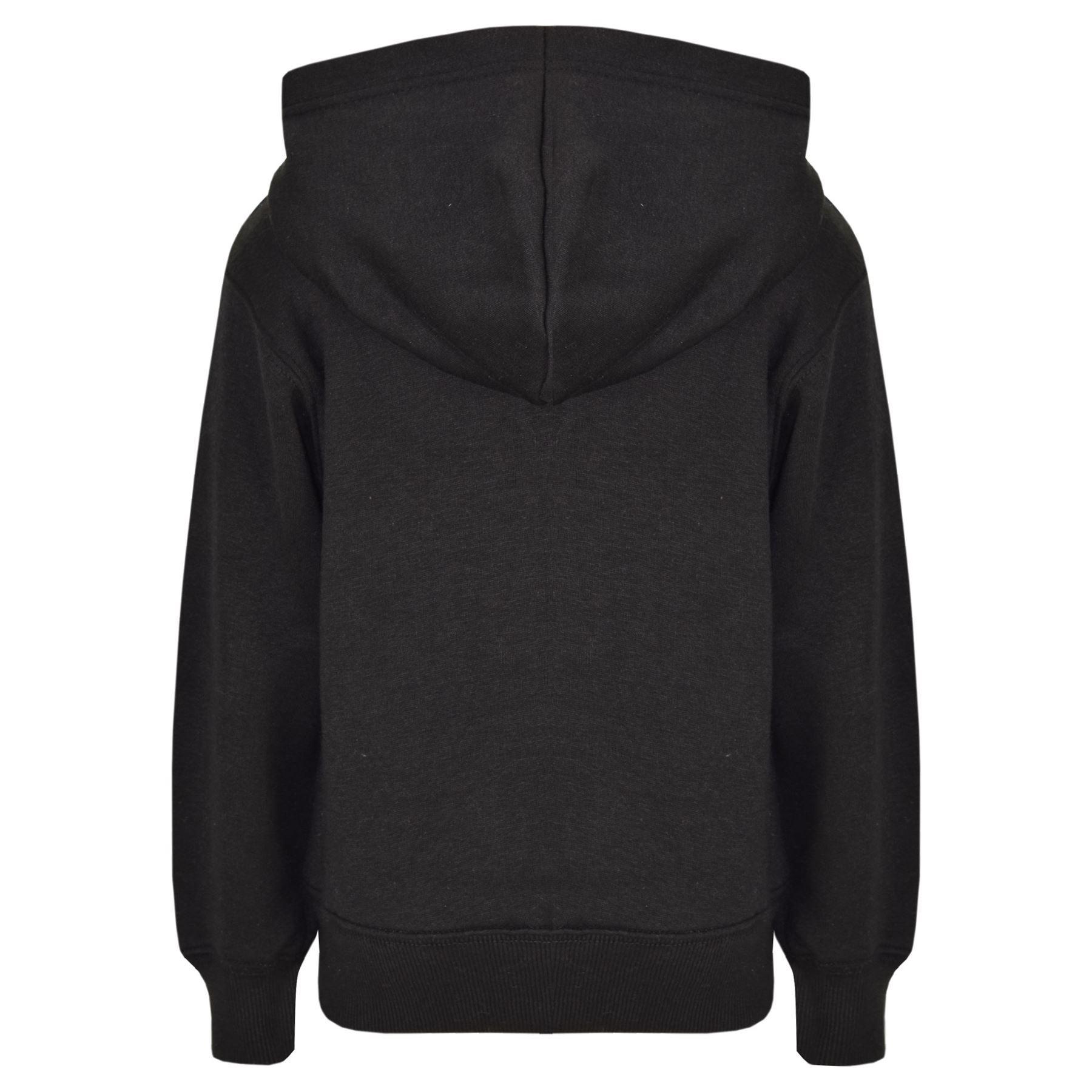 8c5af6cc7aa8 Kids Girls Boys Sweatshirt Tops Plain Black Hooded Jumpers Hoodies ...