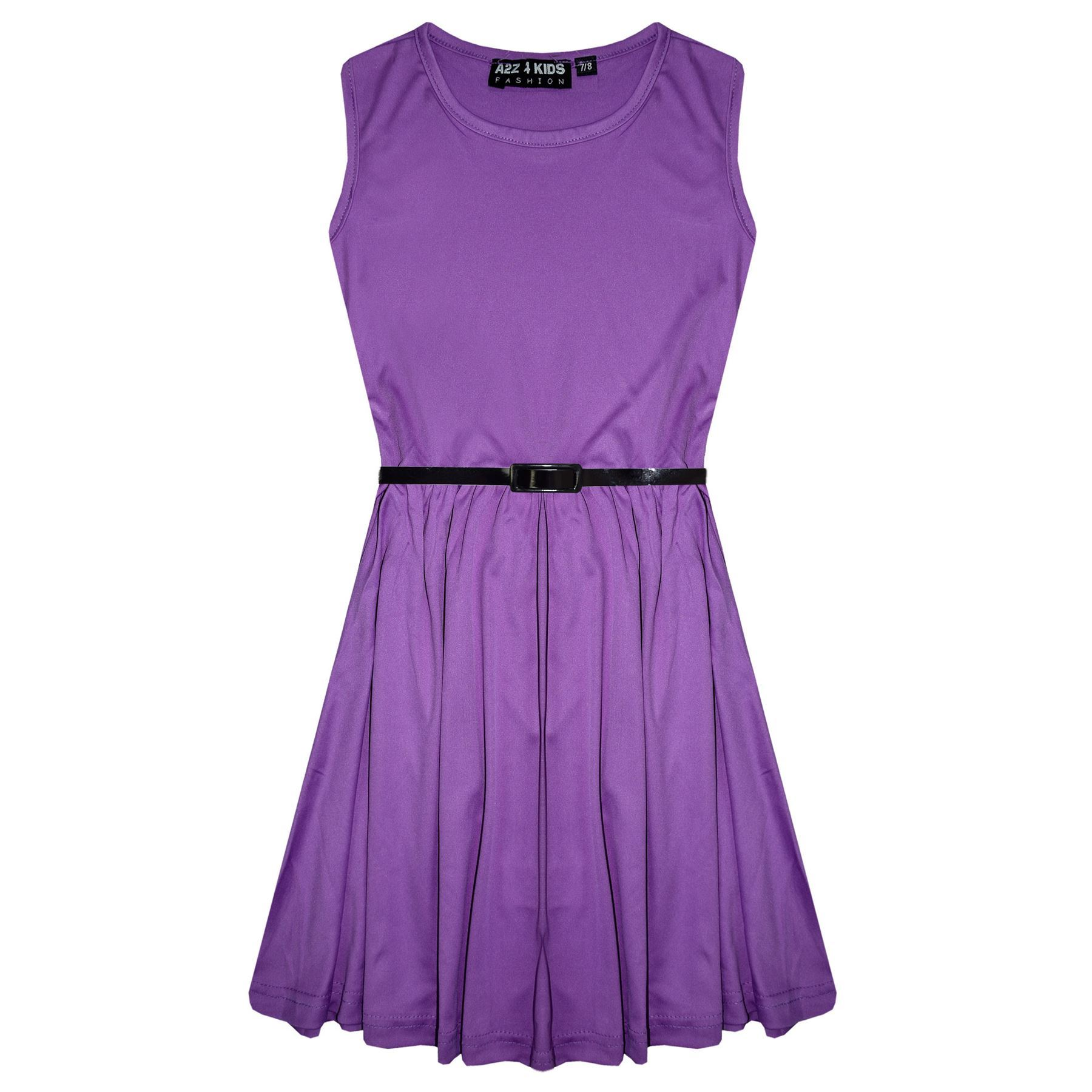 Girls-Skater-Dress-Kids-Party-Dresses-With-Free-Belt-5-6-7-8-9-10-11-12-13-Years miniatuur 36