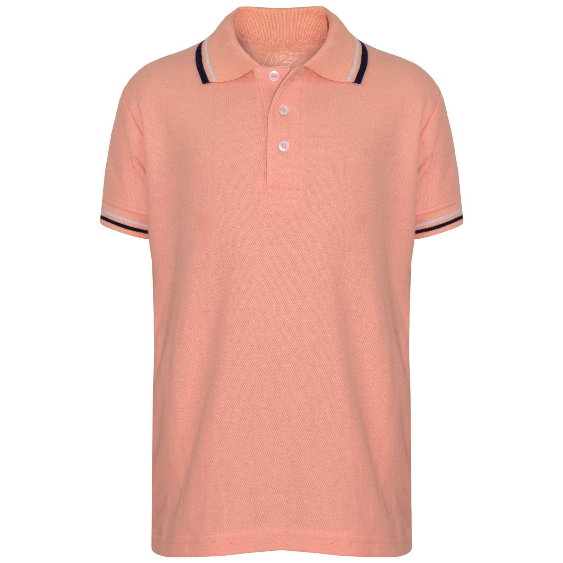 Kids Boys Girls Polo T Shirt Designer Plain Peach School T-Shirts PE ... 0e52d6256