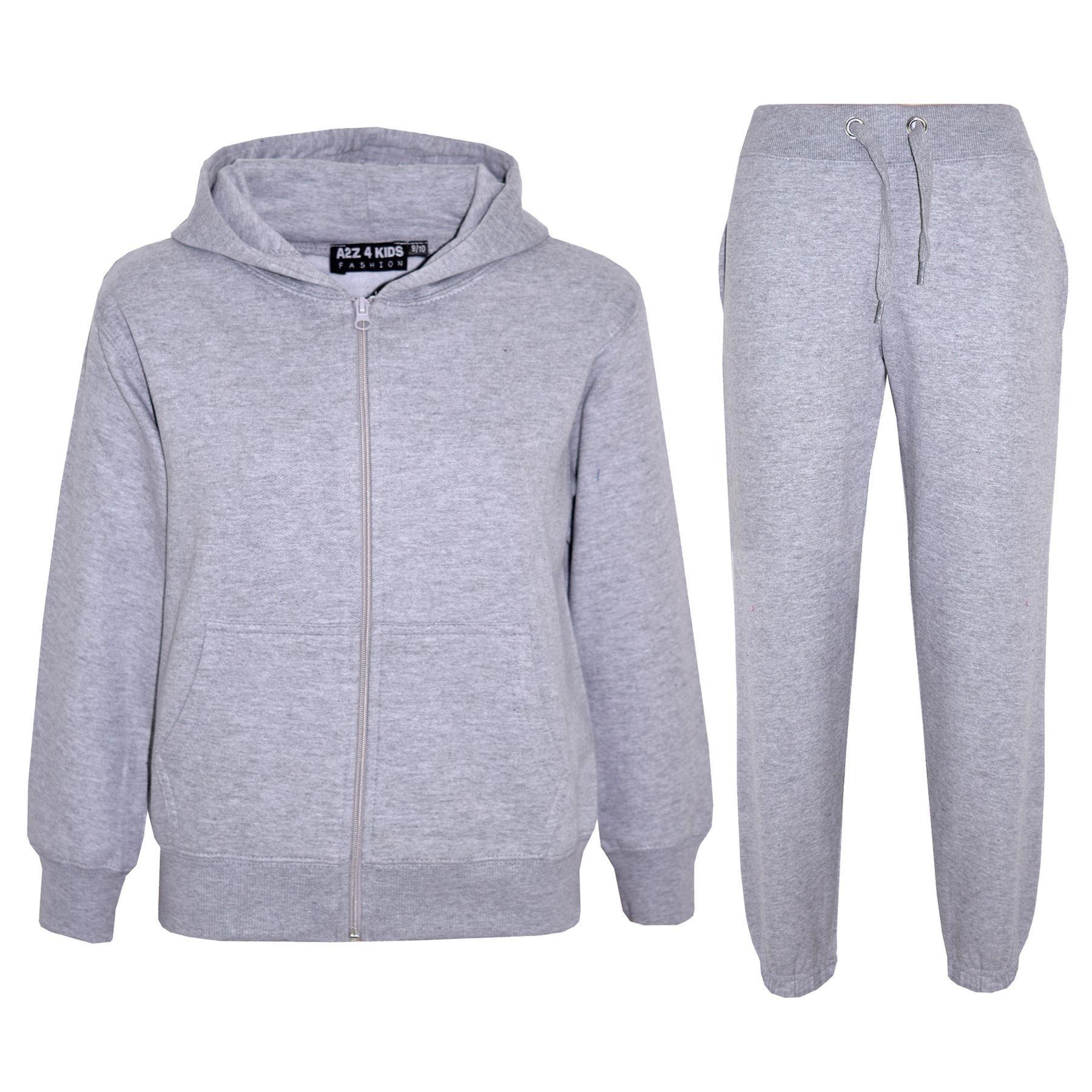 kids girls boys plain tracksuit hooded hoodie bottom