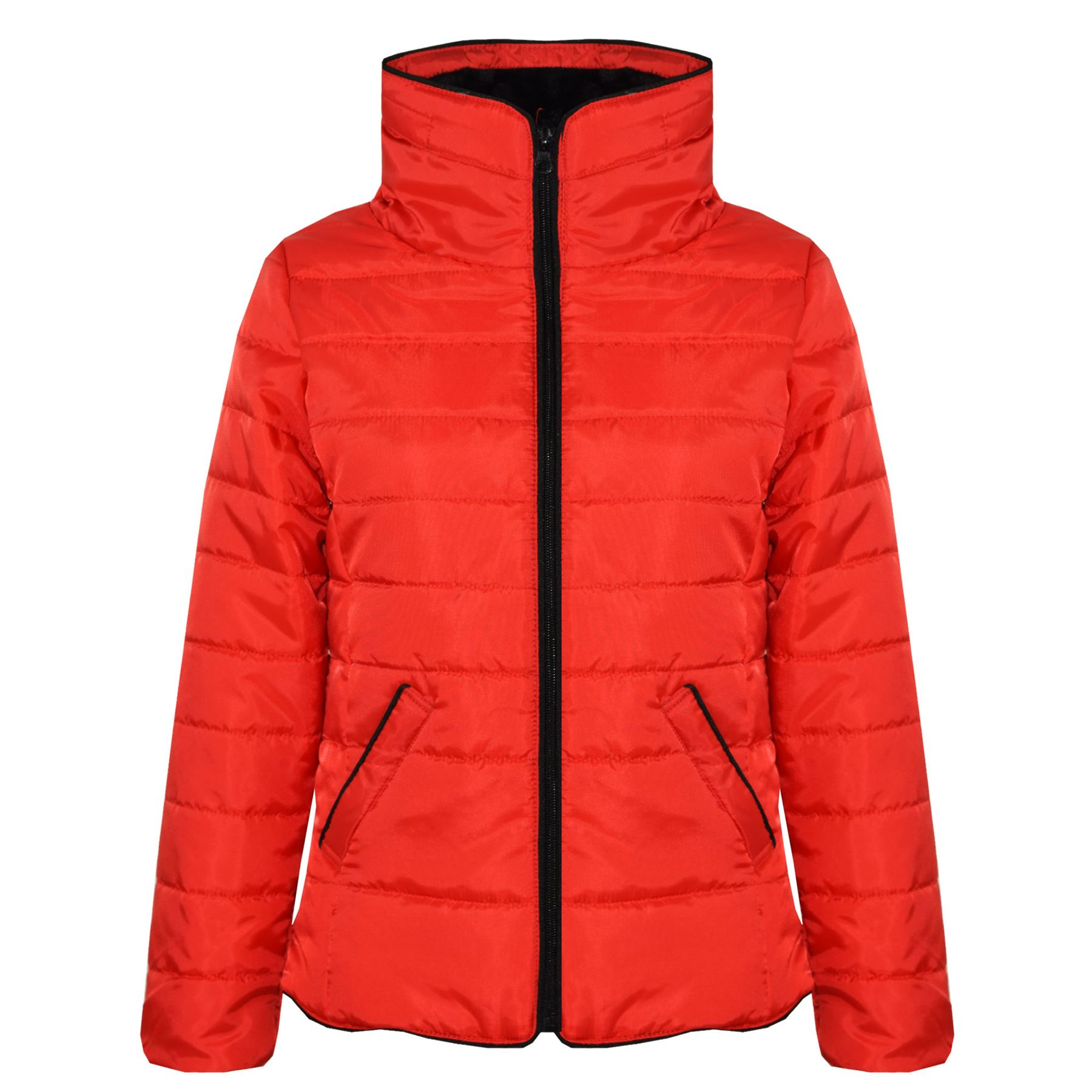 319fb6788888 Girls Jacket Kids Red Padded Puffer Bubble Faux Fur Collar Warm ...