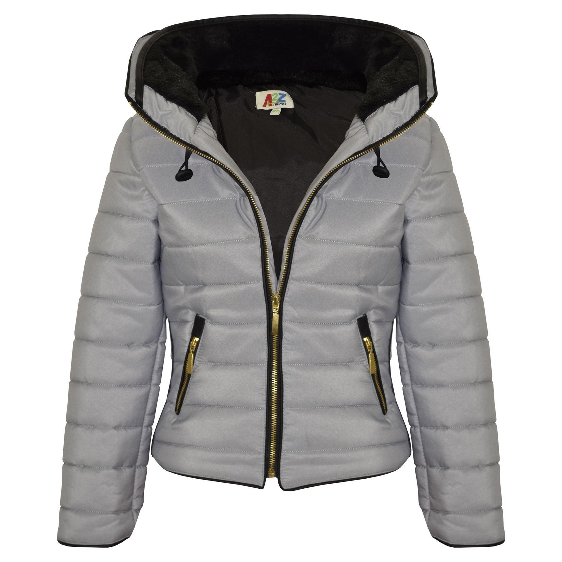Girls Jacket Kids Padded Puffer Bubble Faux Fur Collar ...
