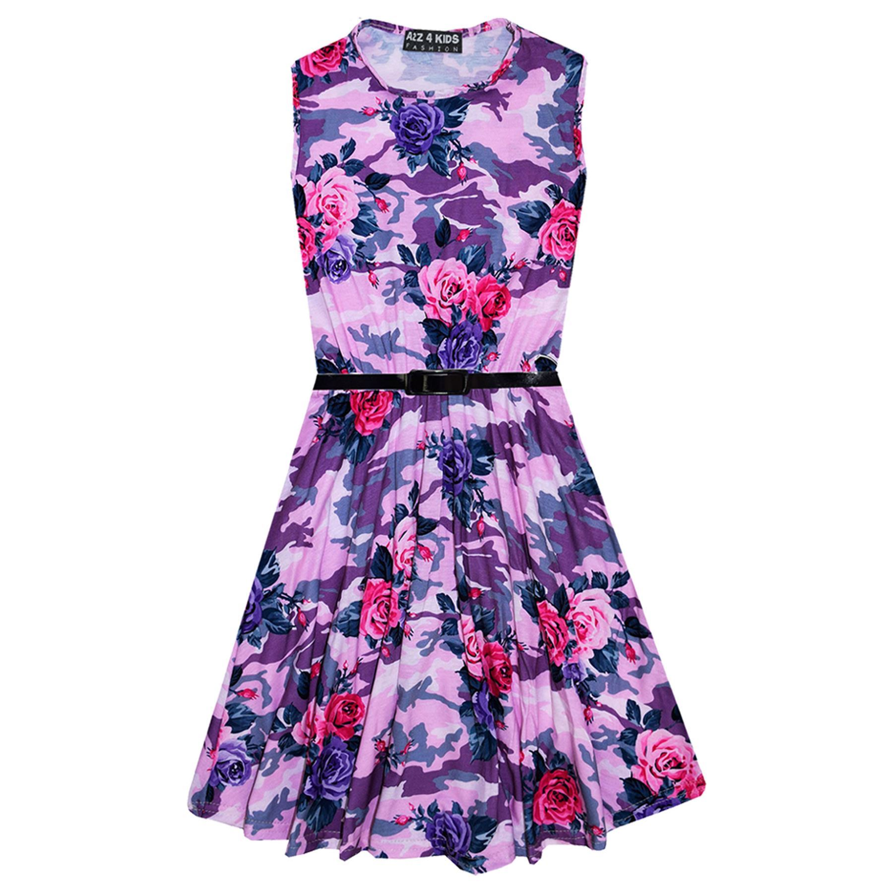 Girls-Skater-Dress-Kids-Camo-Floral-Print-Summer-Party-Dresses-Age-7-13-Years thumbnail 4