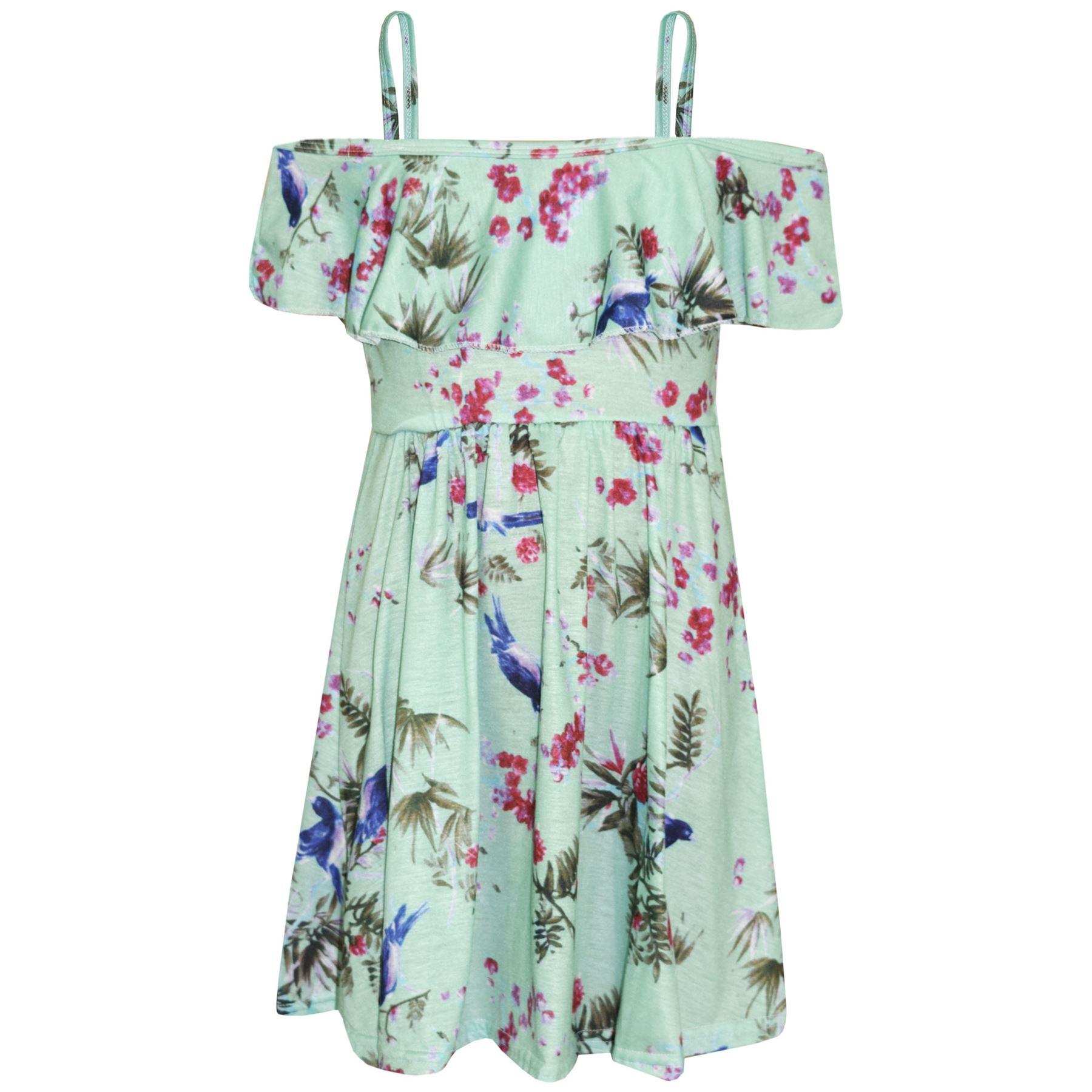 Kids-Girls-Skater-Dress-Floral-Print-Summer-Party-Fashion-Off-Shoulder-Dresses thumbnail 22
