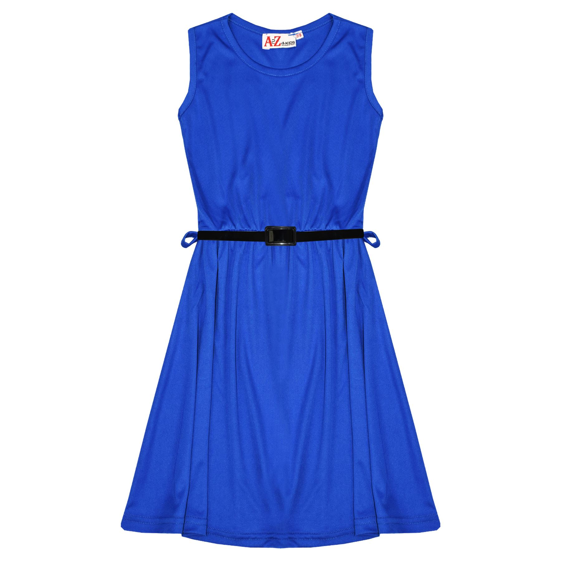 Girls-Skater-Dress-Kids-Party-Dresses-With-Free-Belt-5-6-7-8-9-10-11-12-13-Years miniatuur 73